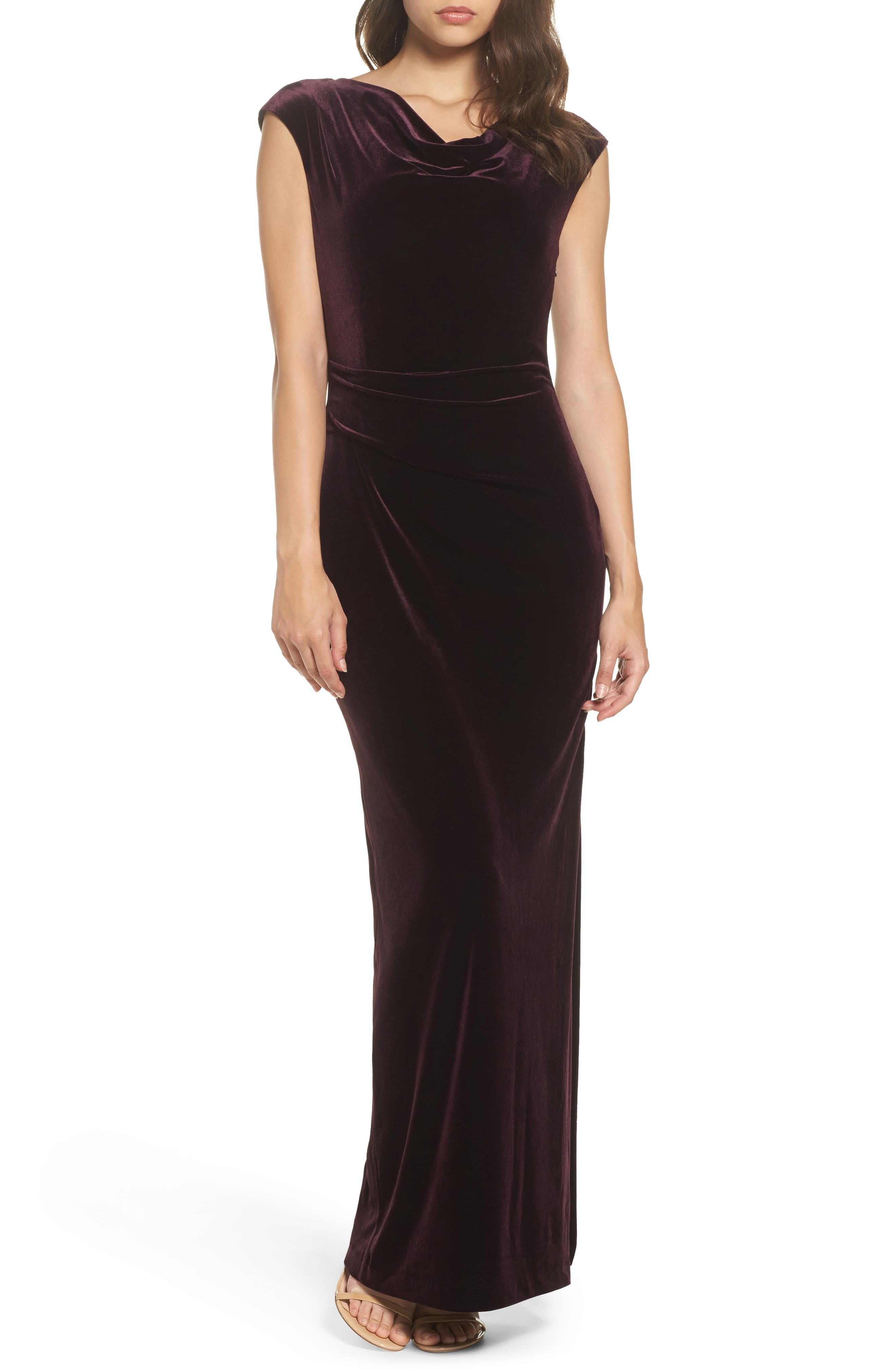 Cap Sleeve Draped Velvet Gown,                         Main,                         color, Maroon
