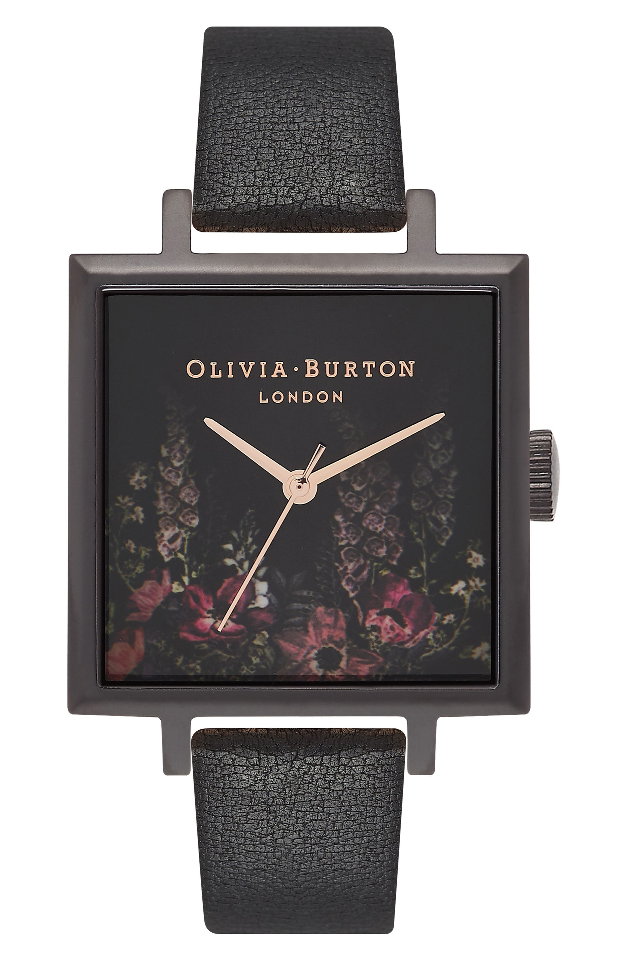 Oliva Burton After Dark Floral Big Square Leather Strap Watch, 38mm