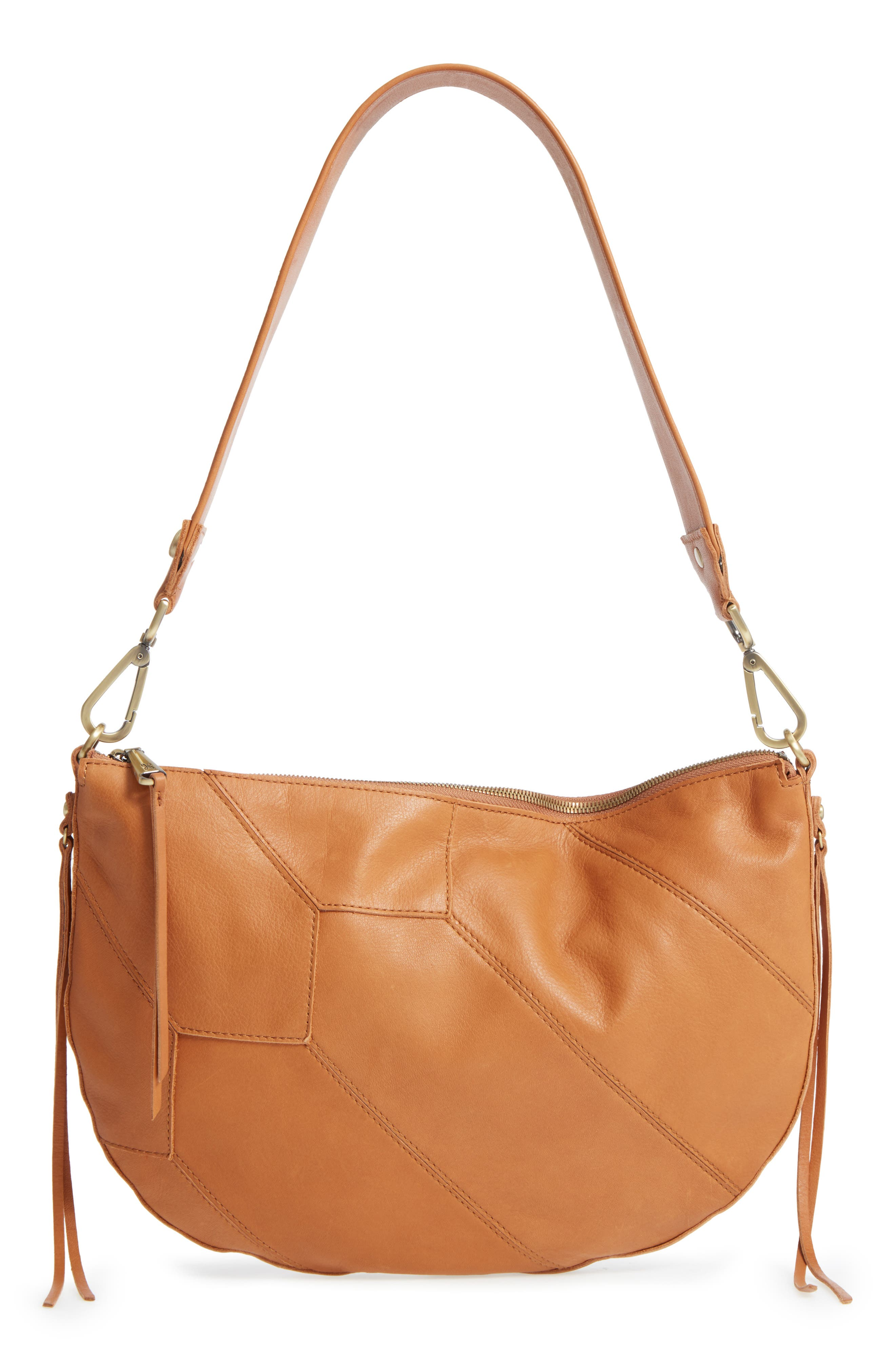 Cisco Calfskin Leather Hobo Bag,                             Main thumbnail 1, color,                             Natural
