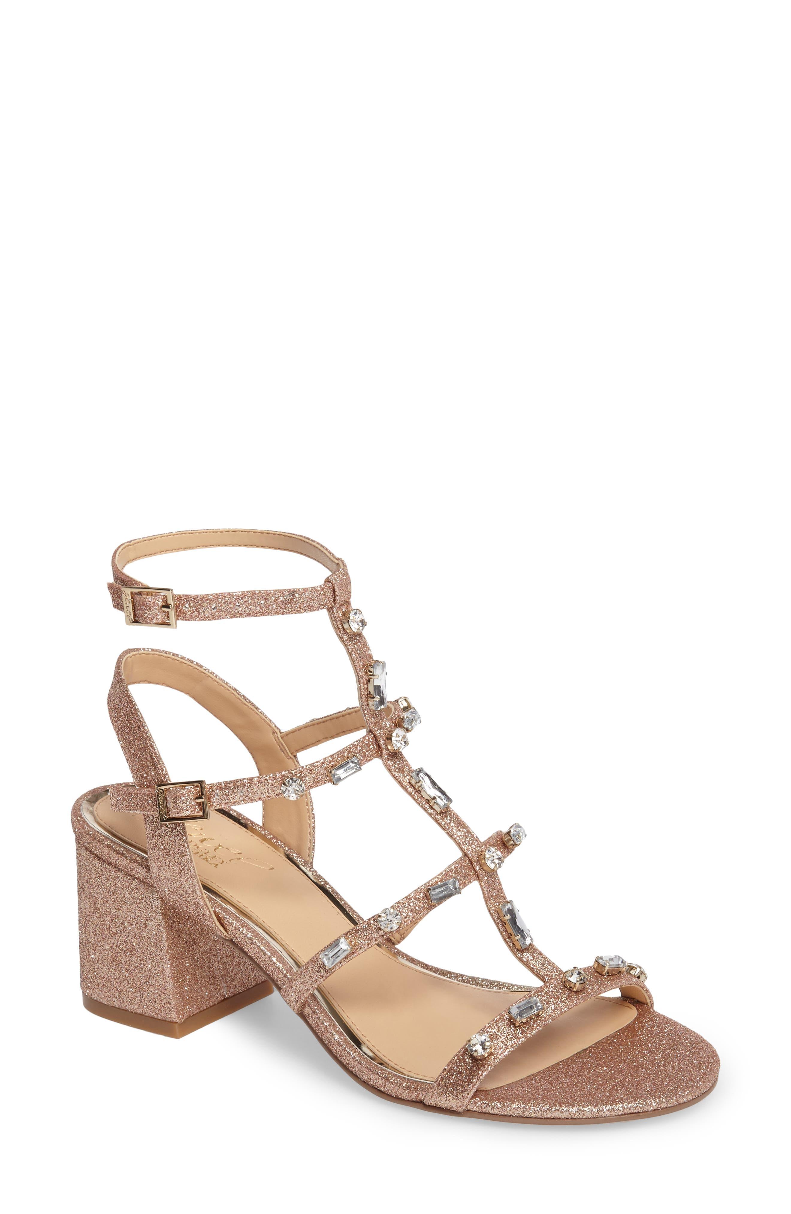 Jewel Badgley Mischka Ana Crystal Studded Block Heel Sandal (Women)