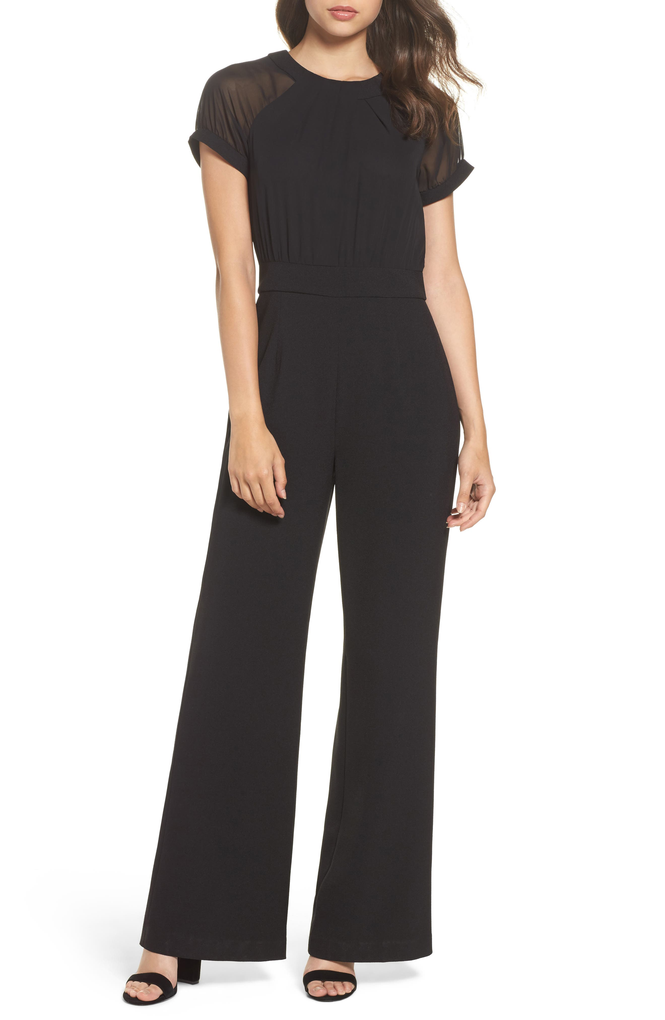 Chiffon & Crepe Jumpsuit,                             Main thumbnail 1, color,                             Black