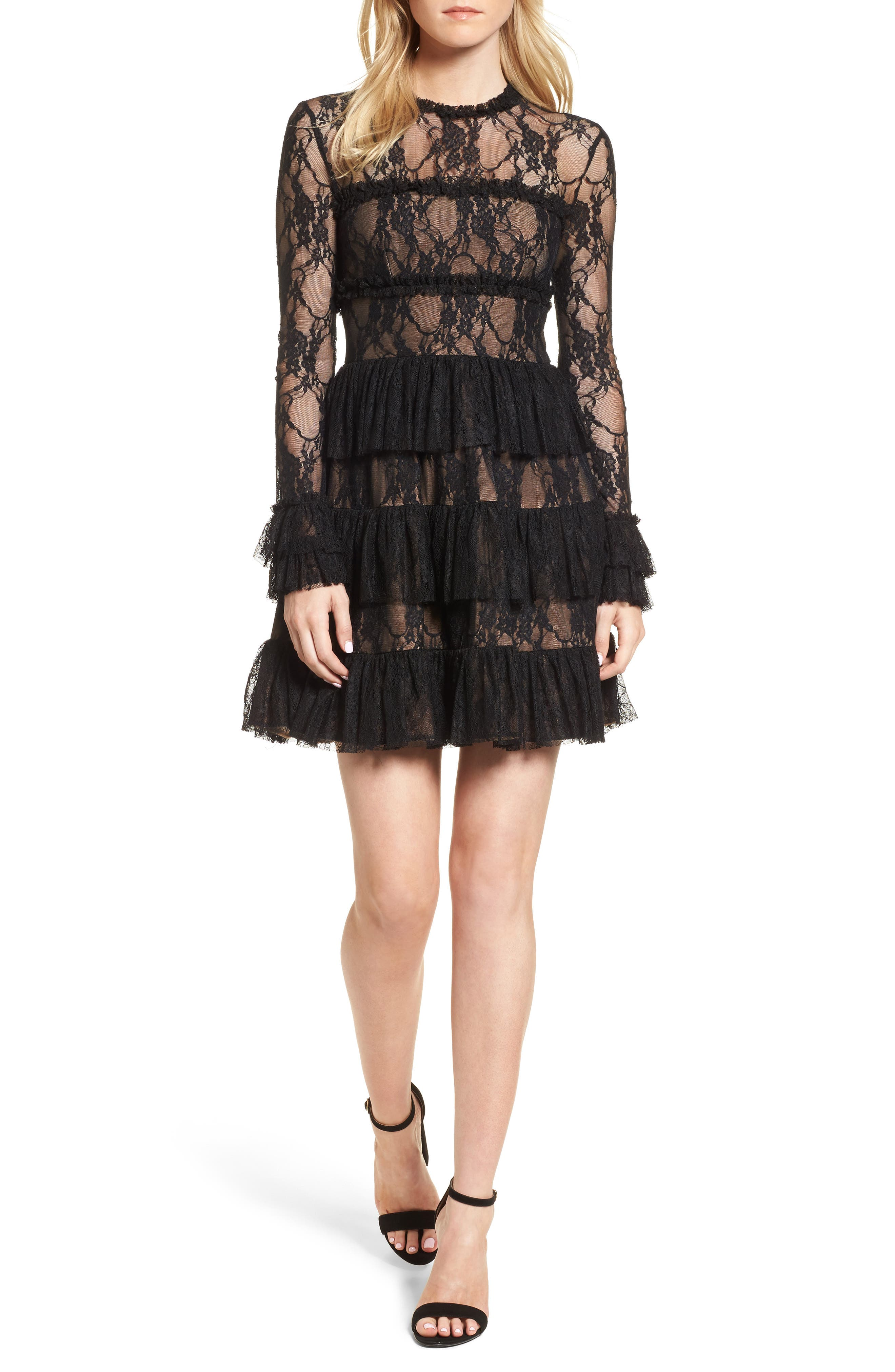 Feeding Circle A-Line Lace Dress,                             Main thumbnail 1, color,                             Midnight