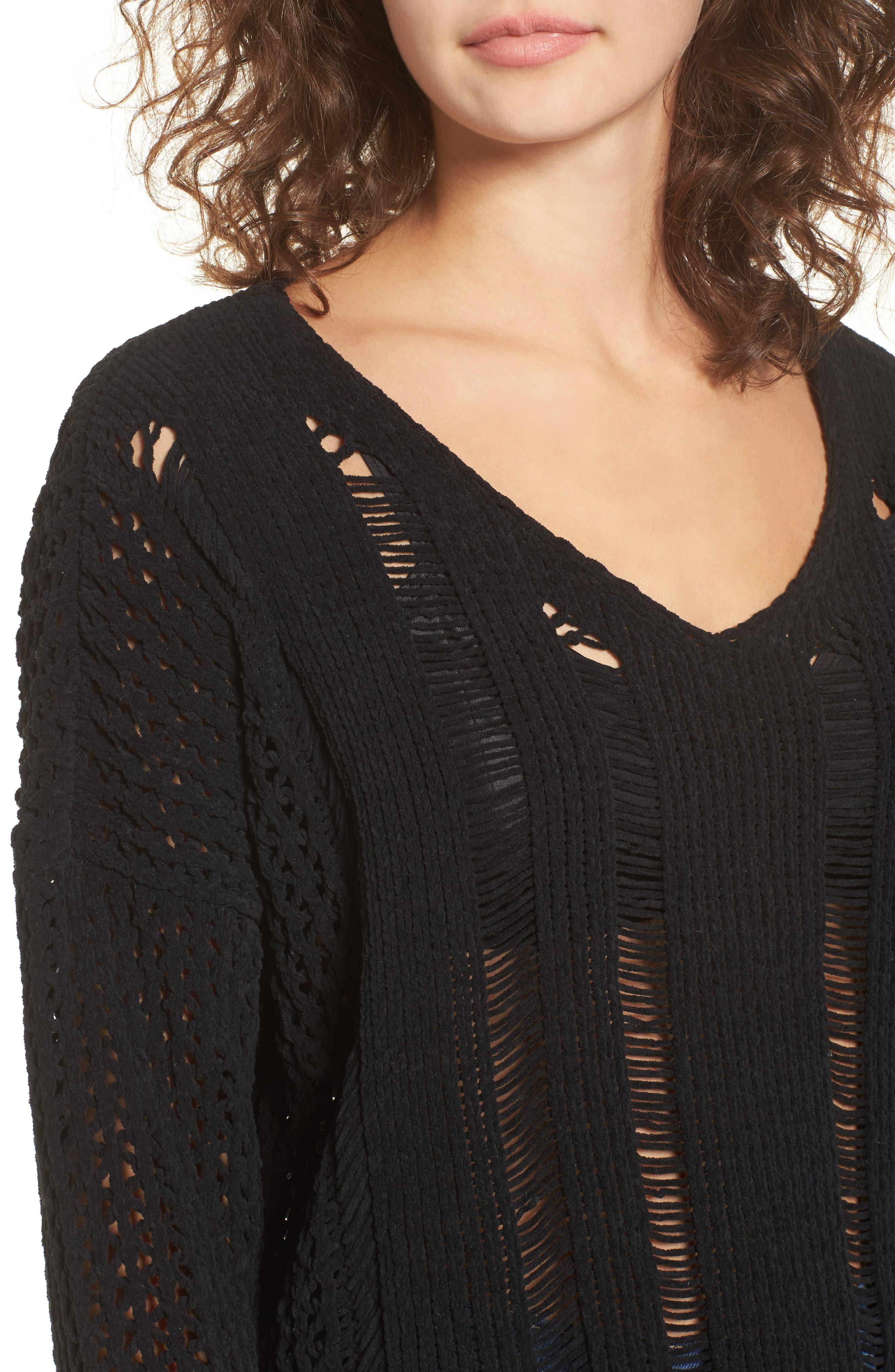 Alternate Image 5  - MOON RIVER Net Detail Sweater