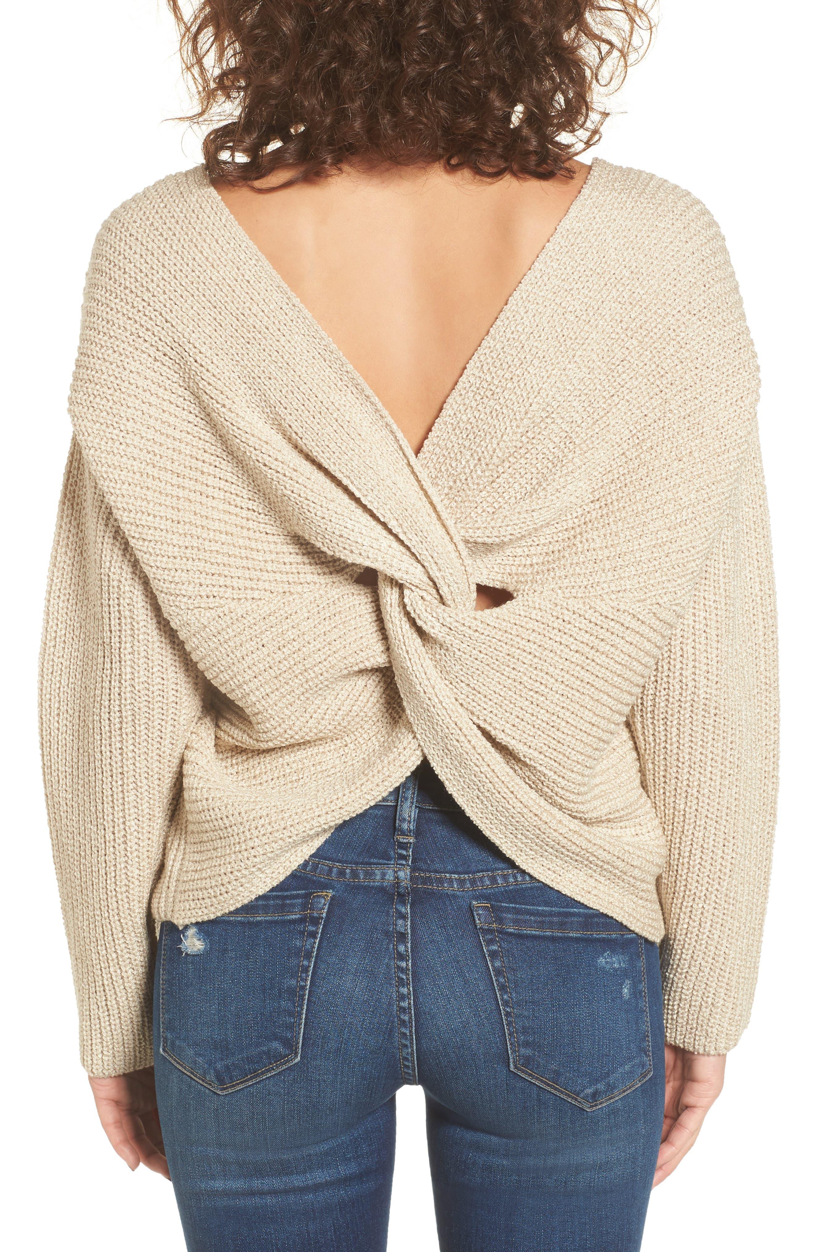 Twist Back Sweater,                             Main thumbnail 1, color,                             Oatmeal