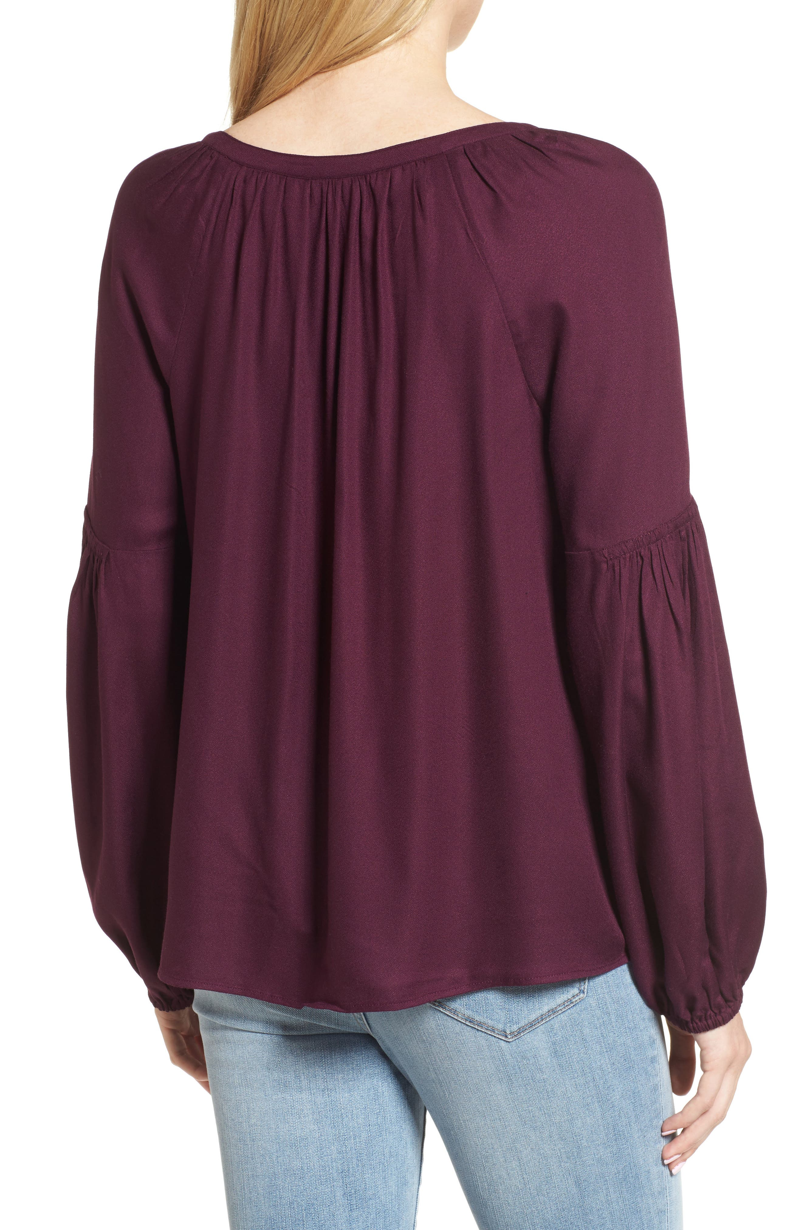 Blouson Sleeve Top,                             Alternate thumbnail 2, color,                             Purple Potent