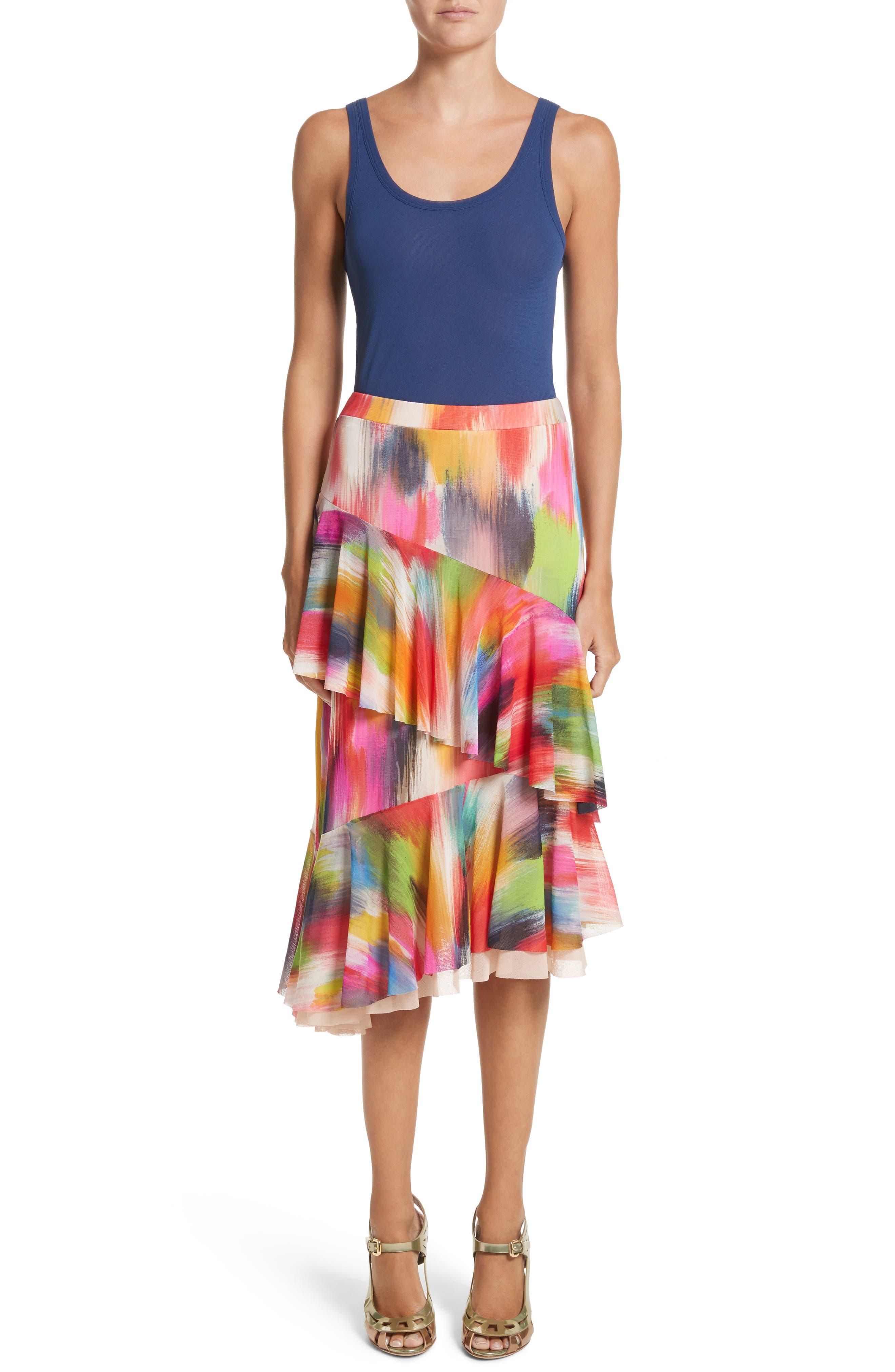 Alternate Image 7  - Fuzzi Ruffle Print Tulle Midi Skirt