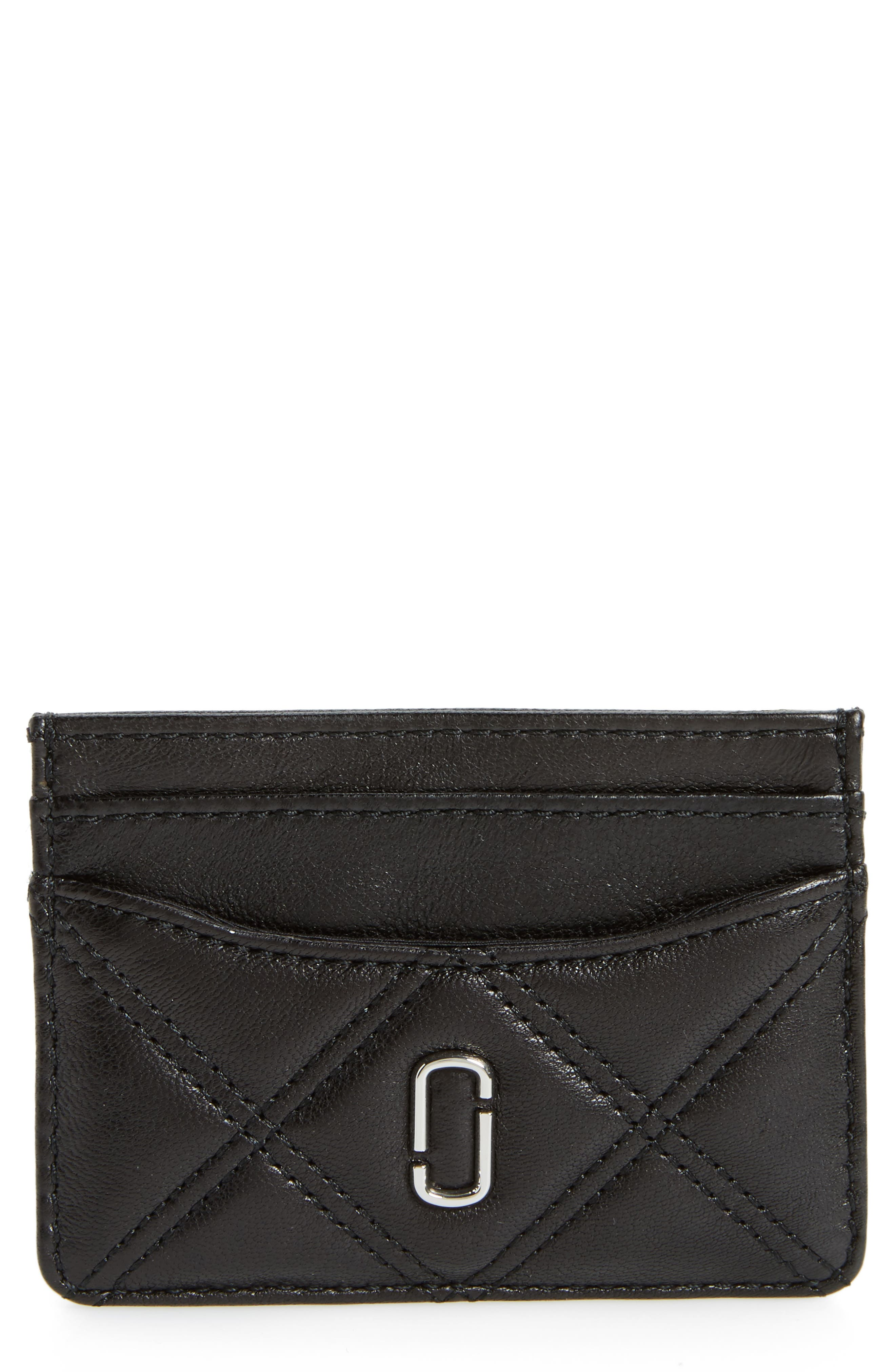 Quilted Leather Card Case,                         Main,                         color, Black