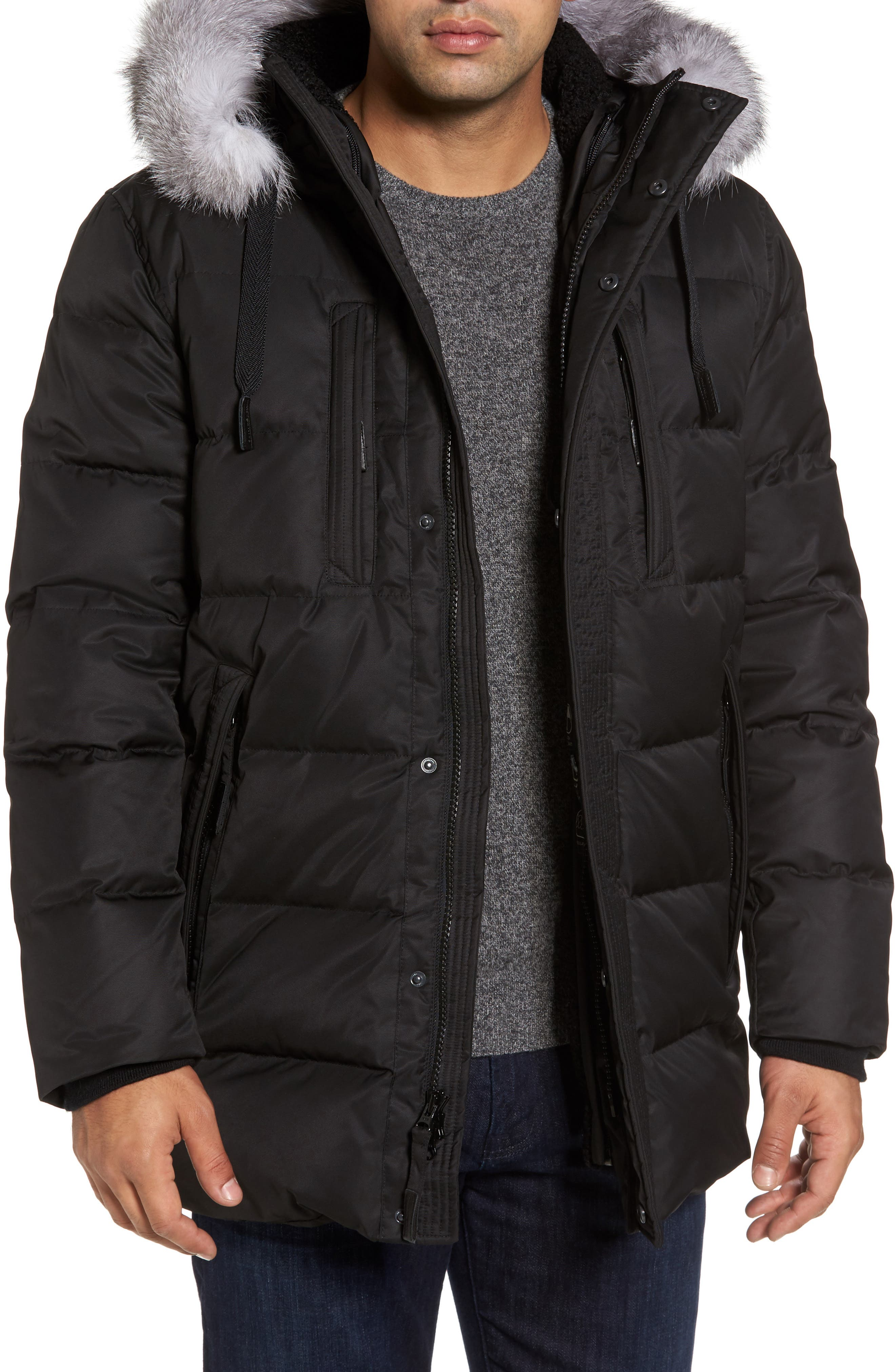 Quilted Down Jacket with Genuine Fox Fur Trim,                         Main,                         color, Black