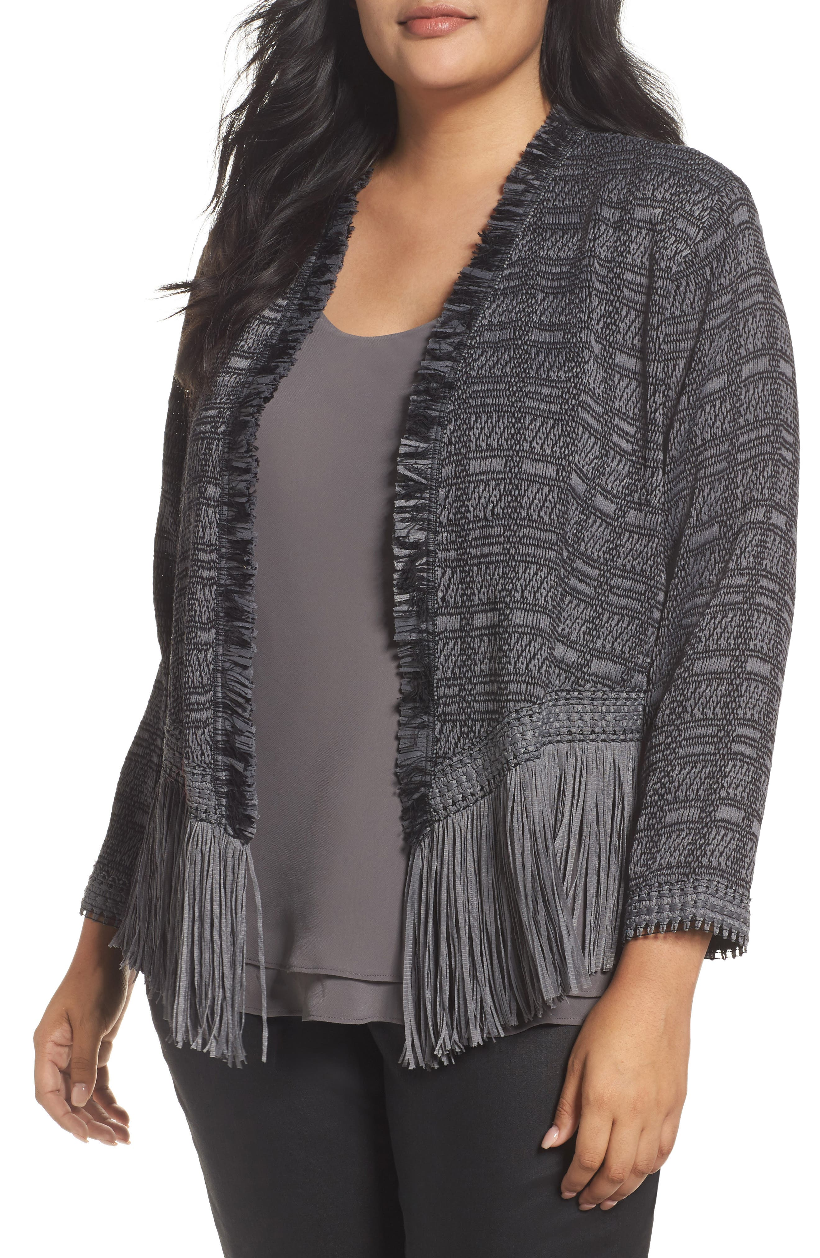 Cork Fringe Tweed Jacket,                             Main thumbnail 1, color,                             Warm Grey
