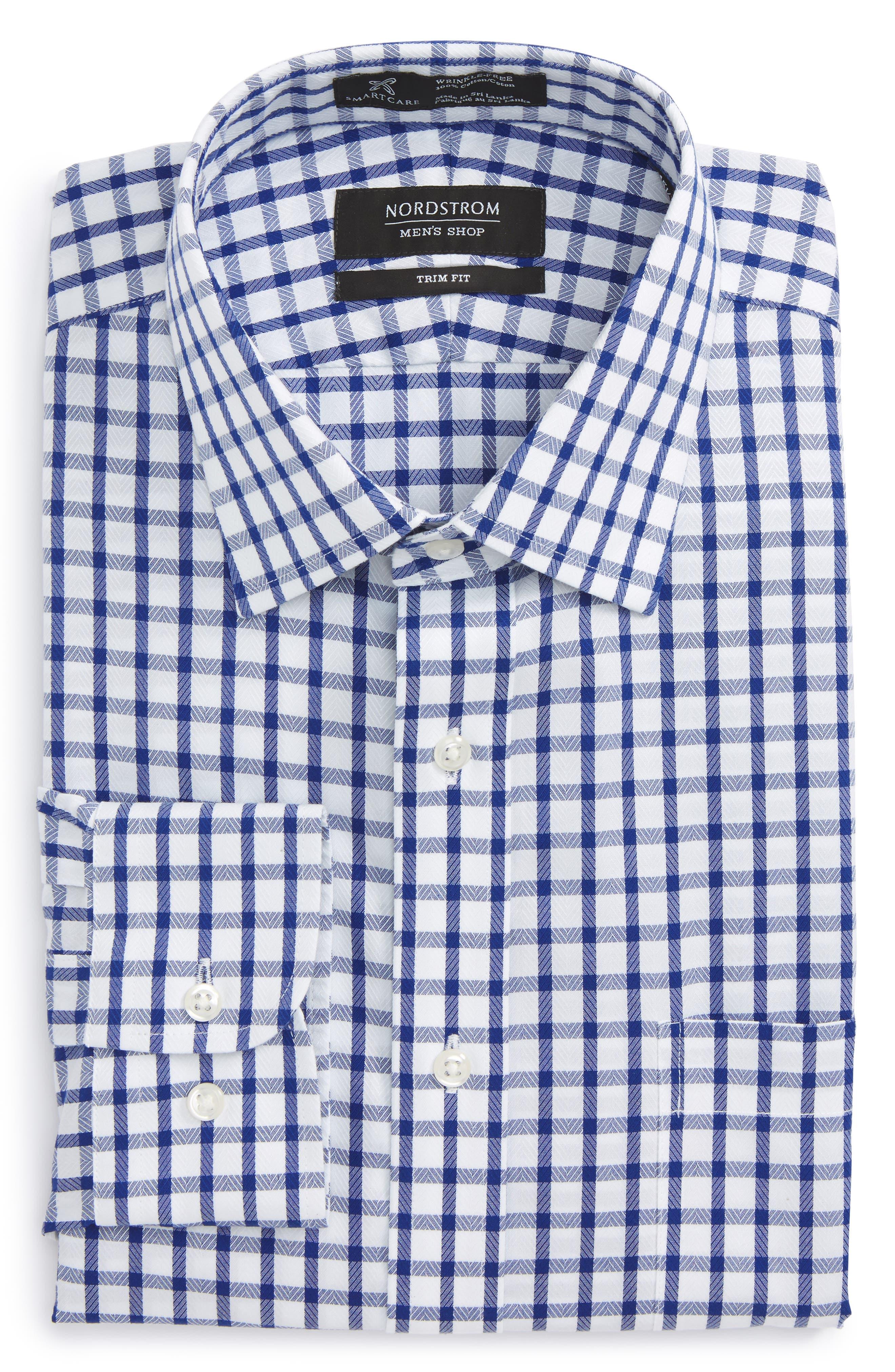 Smartcare<sup>™</sup> Trim Fit Check Dress Shirt,                             Alternate thumbnail 6, color,                             Blue Mazarine