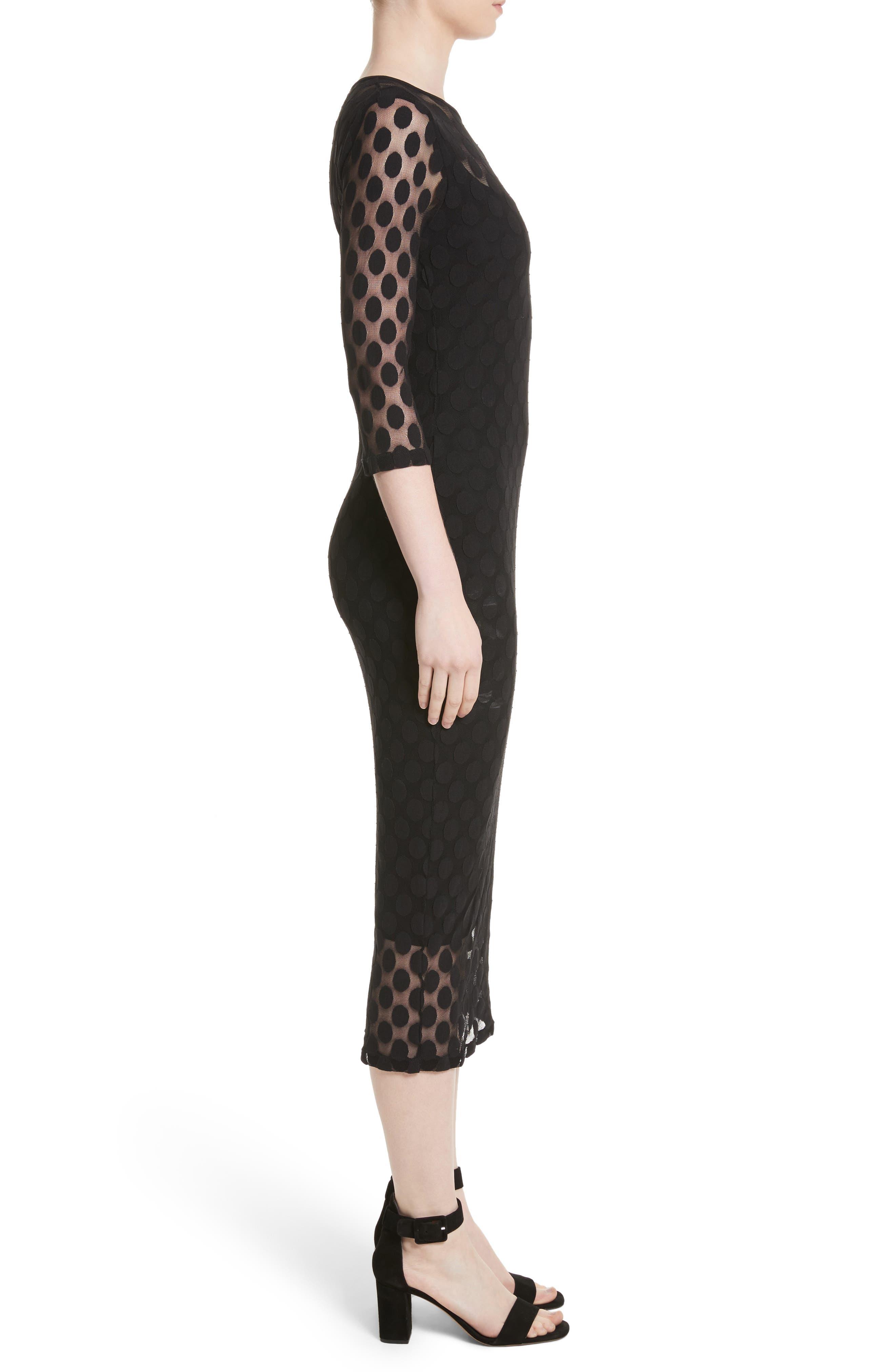 Dot Print Tulle Midi Dress,                             Alternate thumbnail 3, color,                             Nero