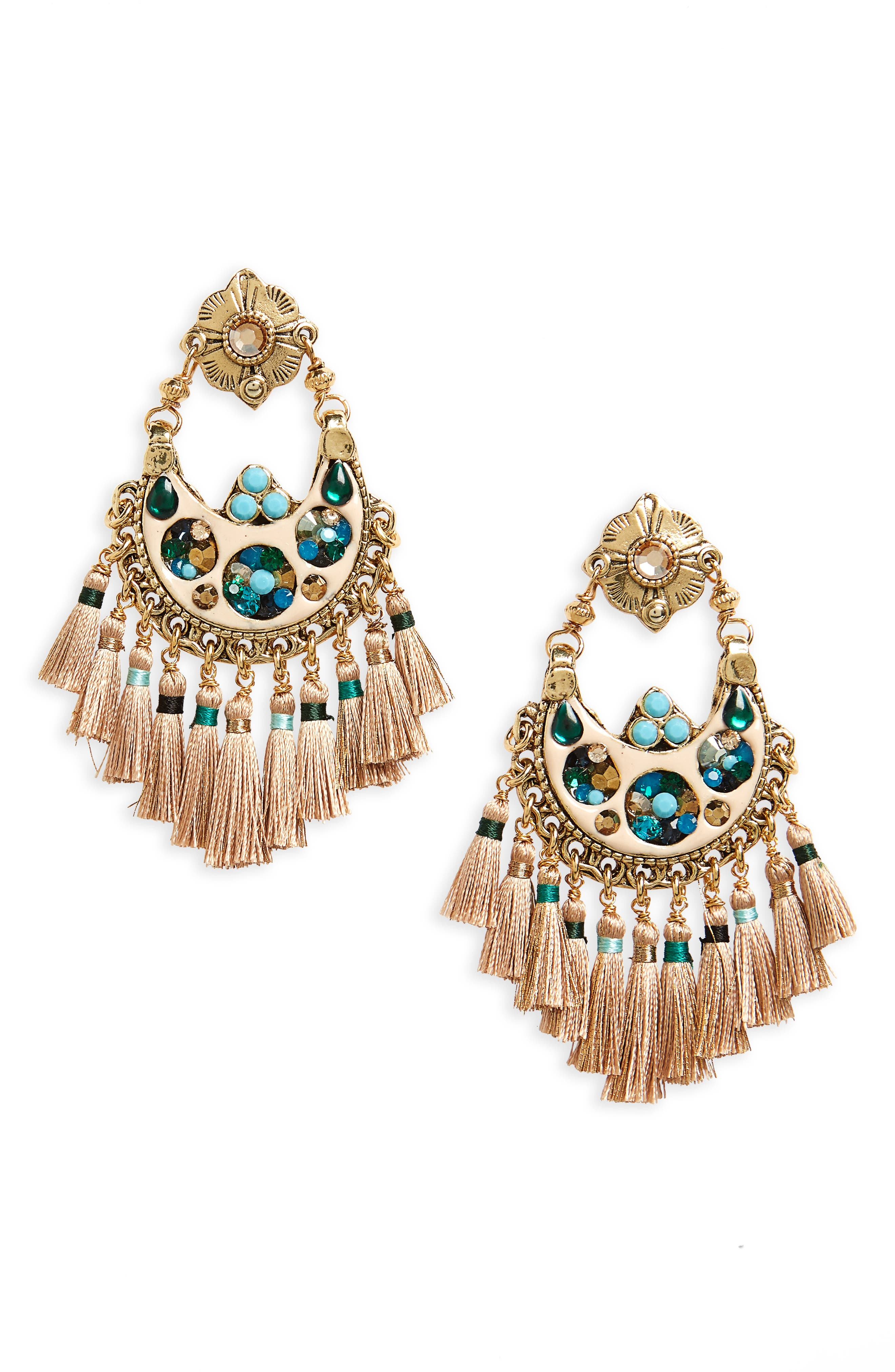 Small Eventail Statement Earrings,                         Main,                         color, Turquoise Green/ Gold