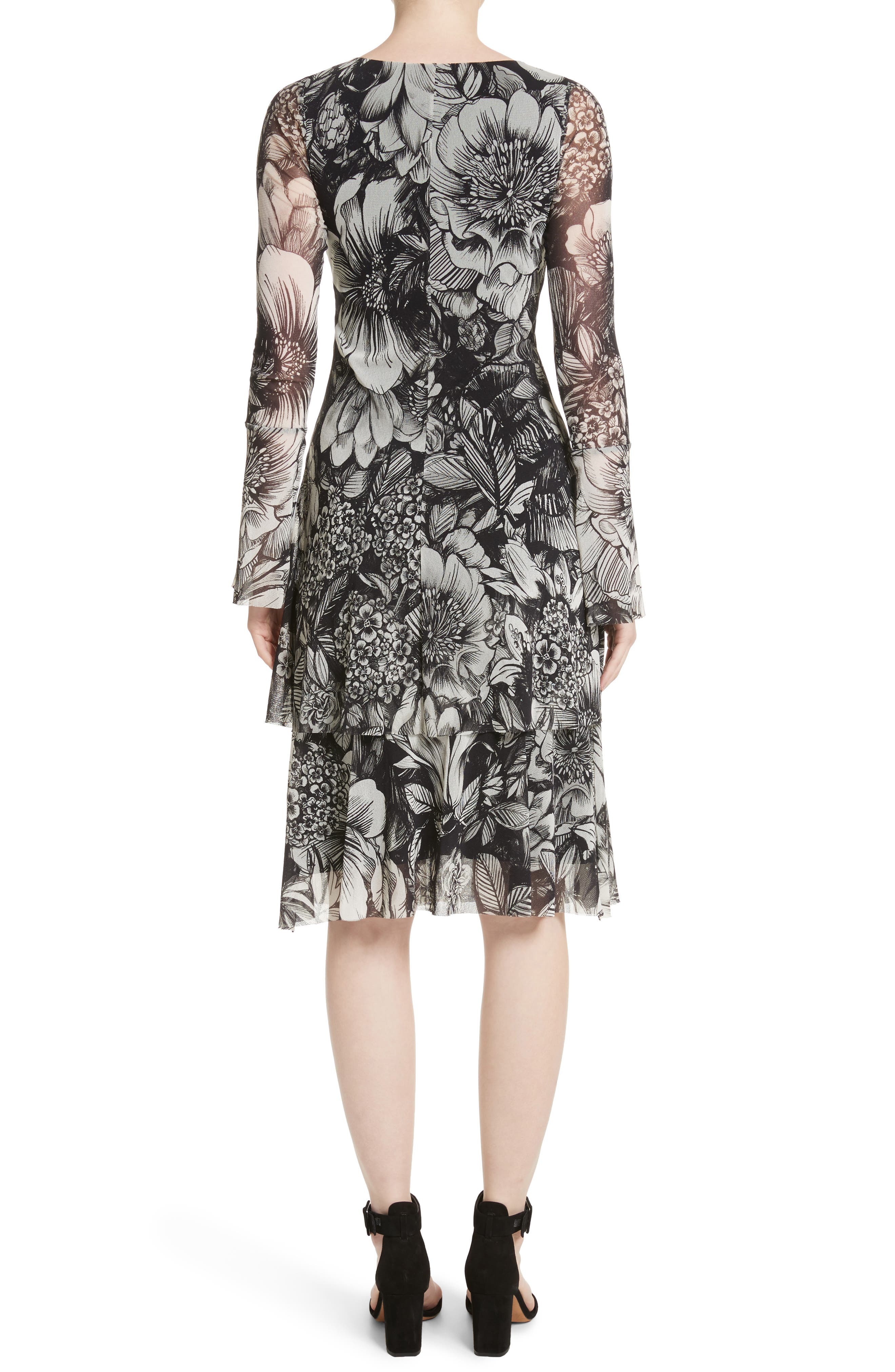 Ruffle Floral Print Tulle Dress,                             Alternate thumbnail 2, color,                             Nero