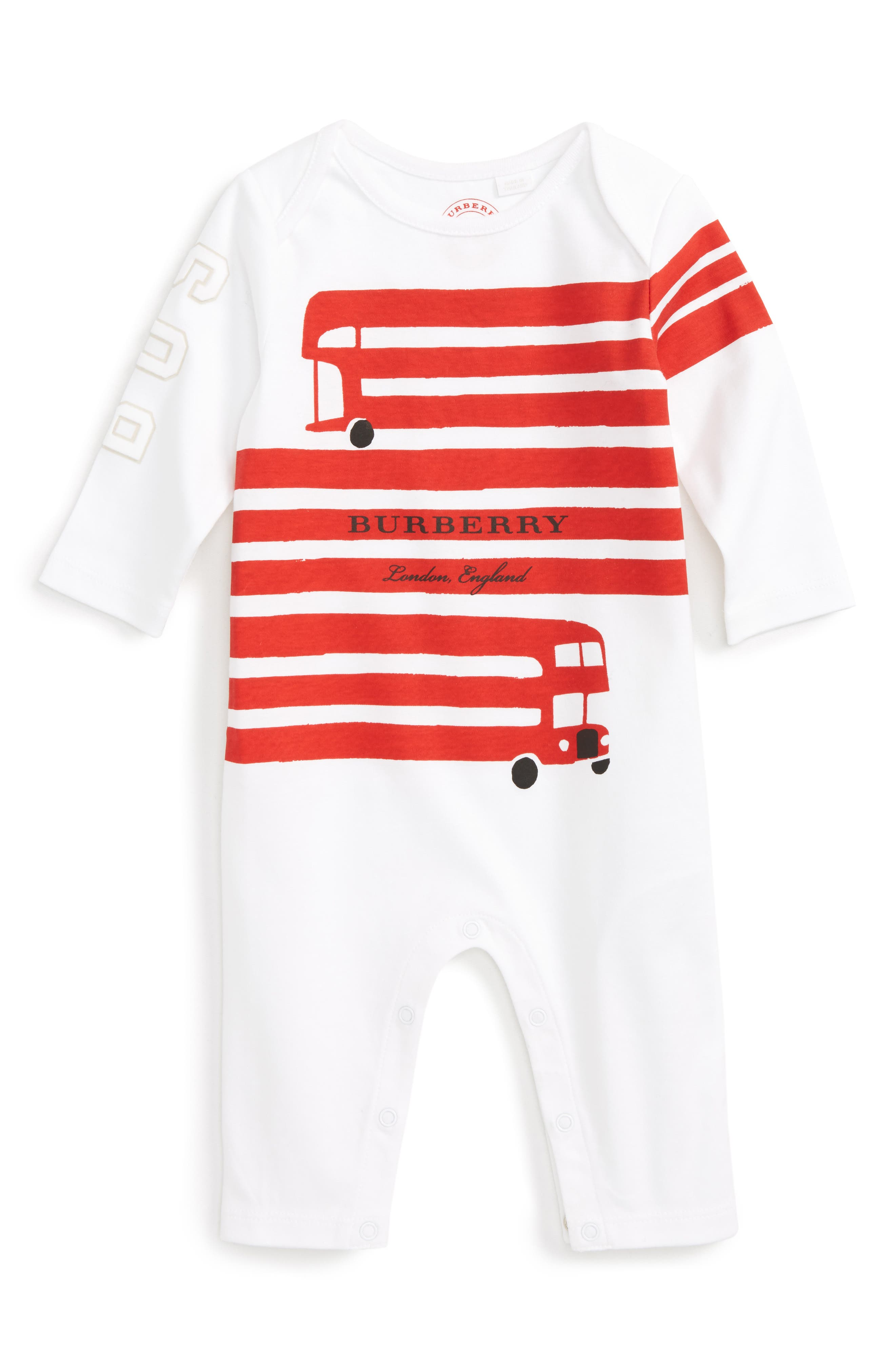Alternate Image 1 Selected - Burberry Bus Graphic Romper (Baby Girls)