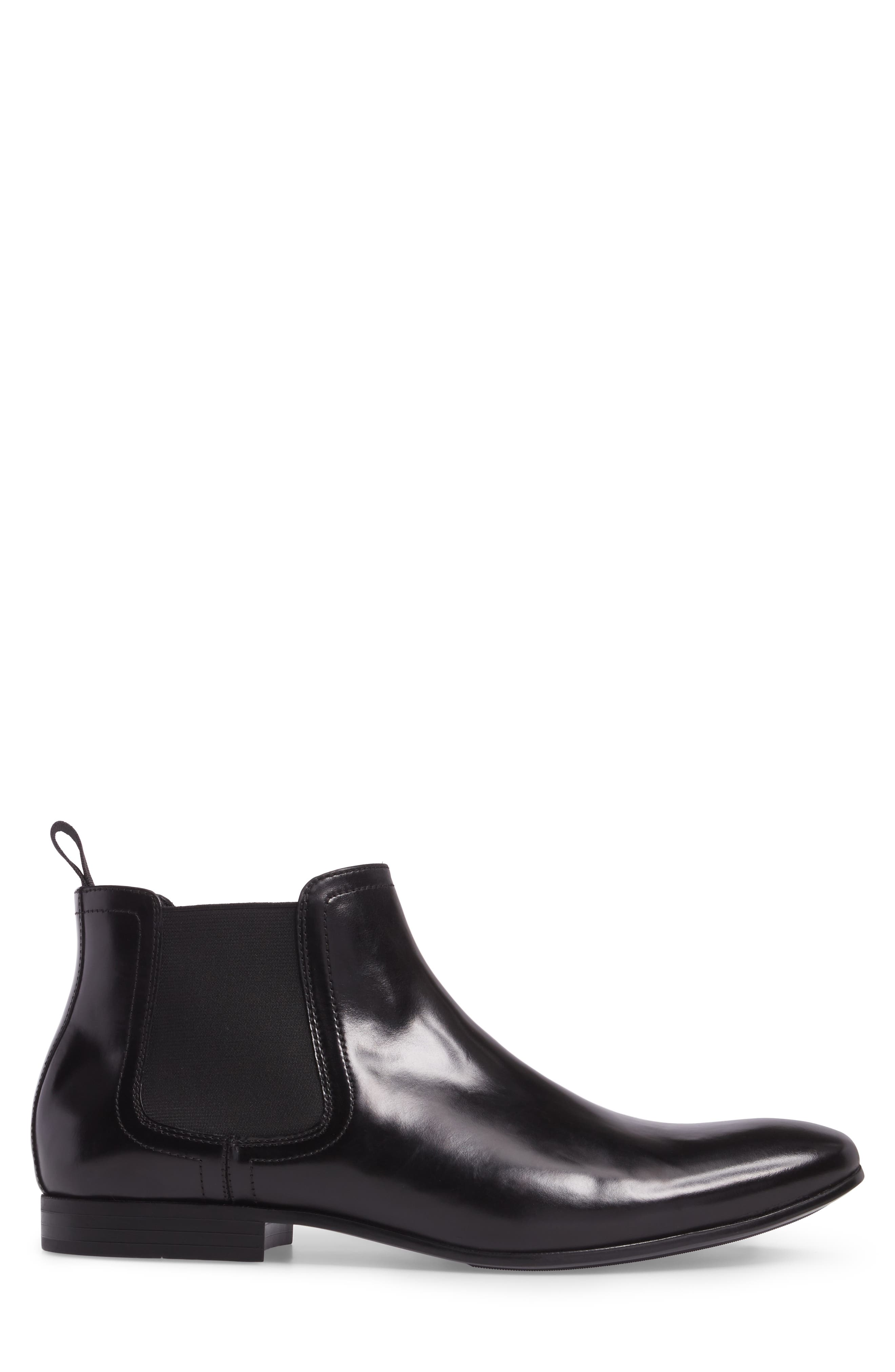 Chelsea Boot,                             Alternate thumbnail 3, color,                             Black Leather