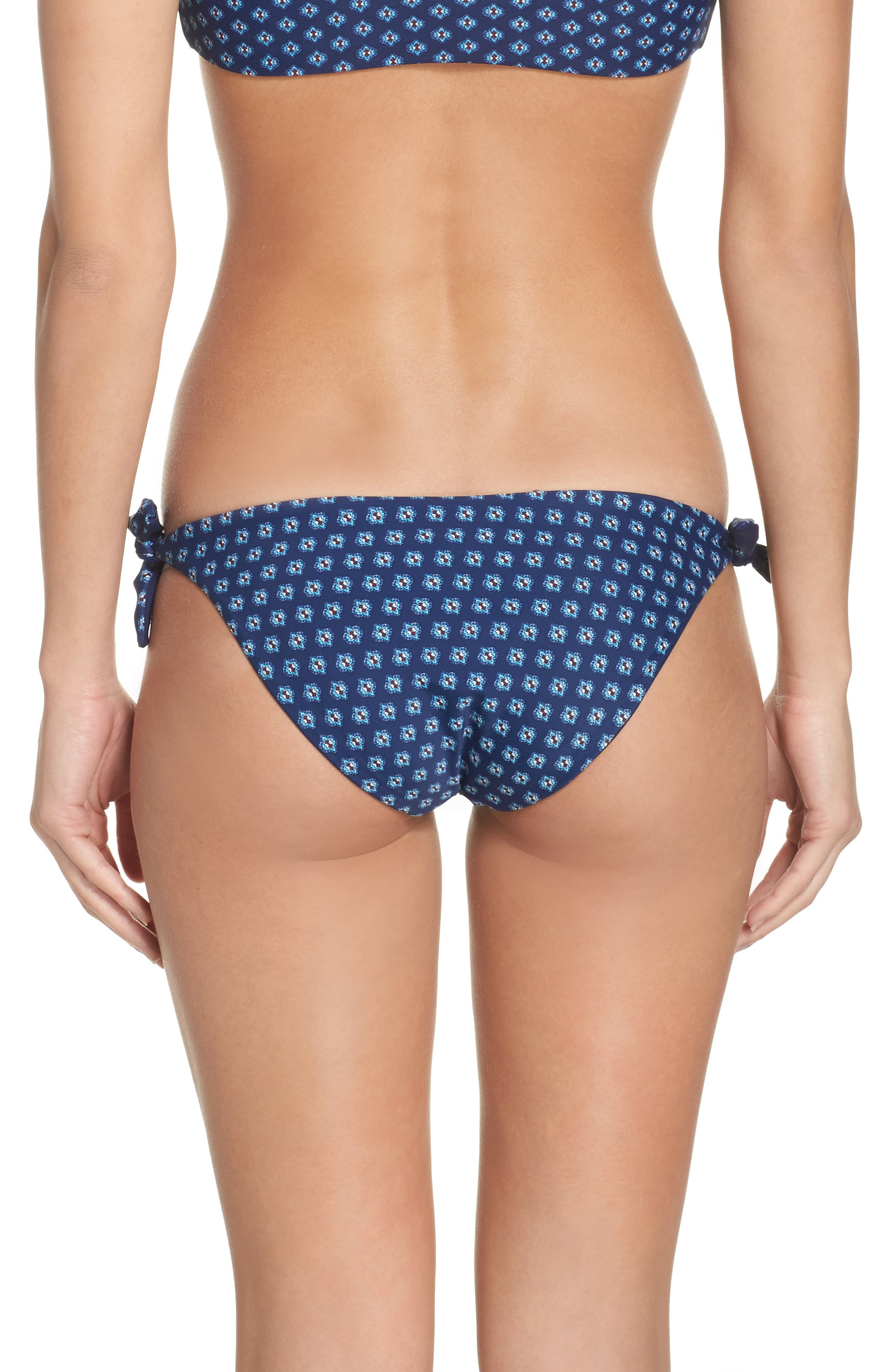 Reversible Side Tie Bikini Bottoms,                             Alternate thumbnail 3, color,                             Blue Multi