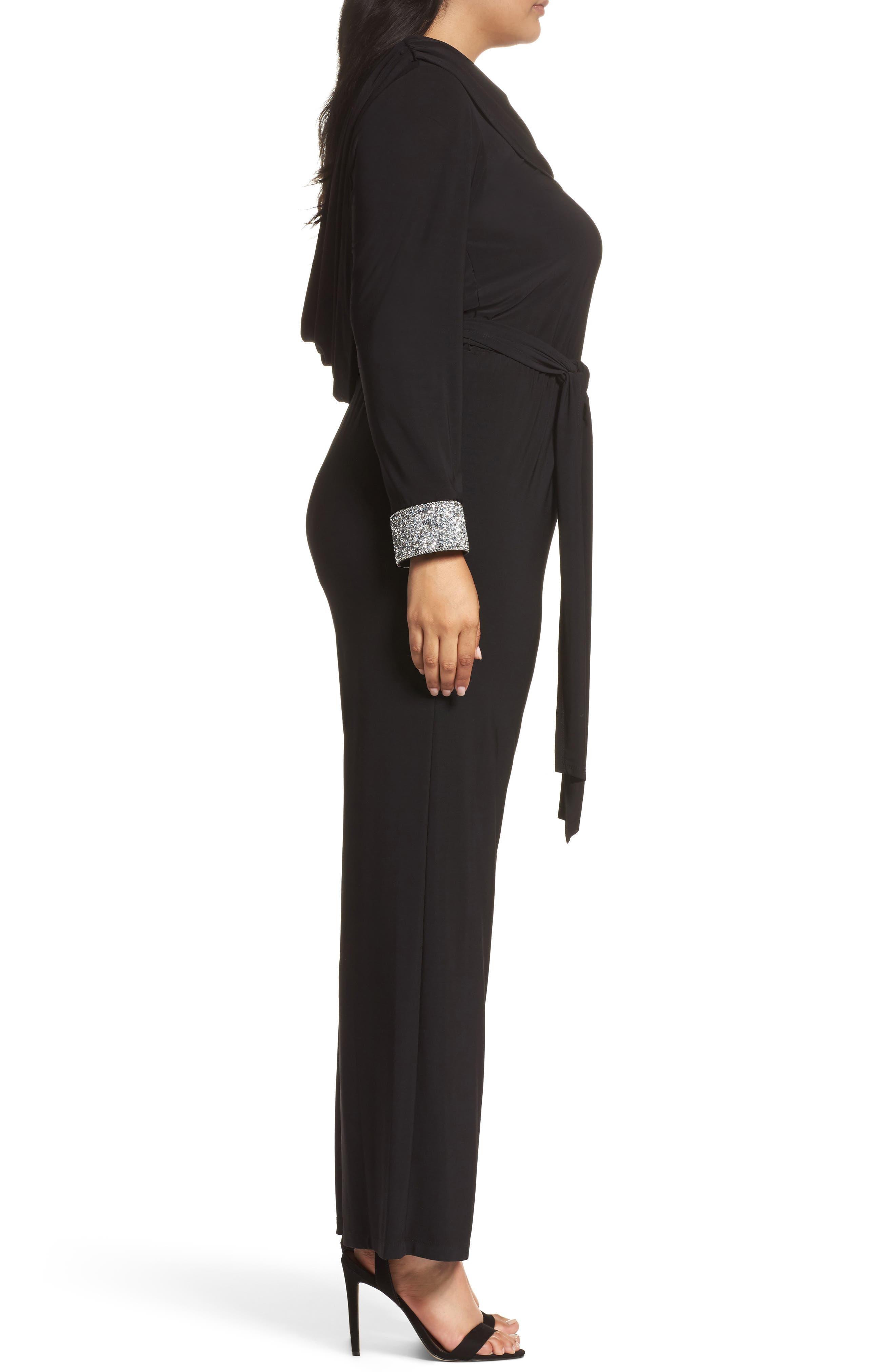 Embellished Cowl Back Jumpsuit,                             Alternate thumbnail 3, color,                             Black