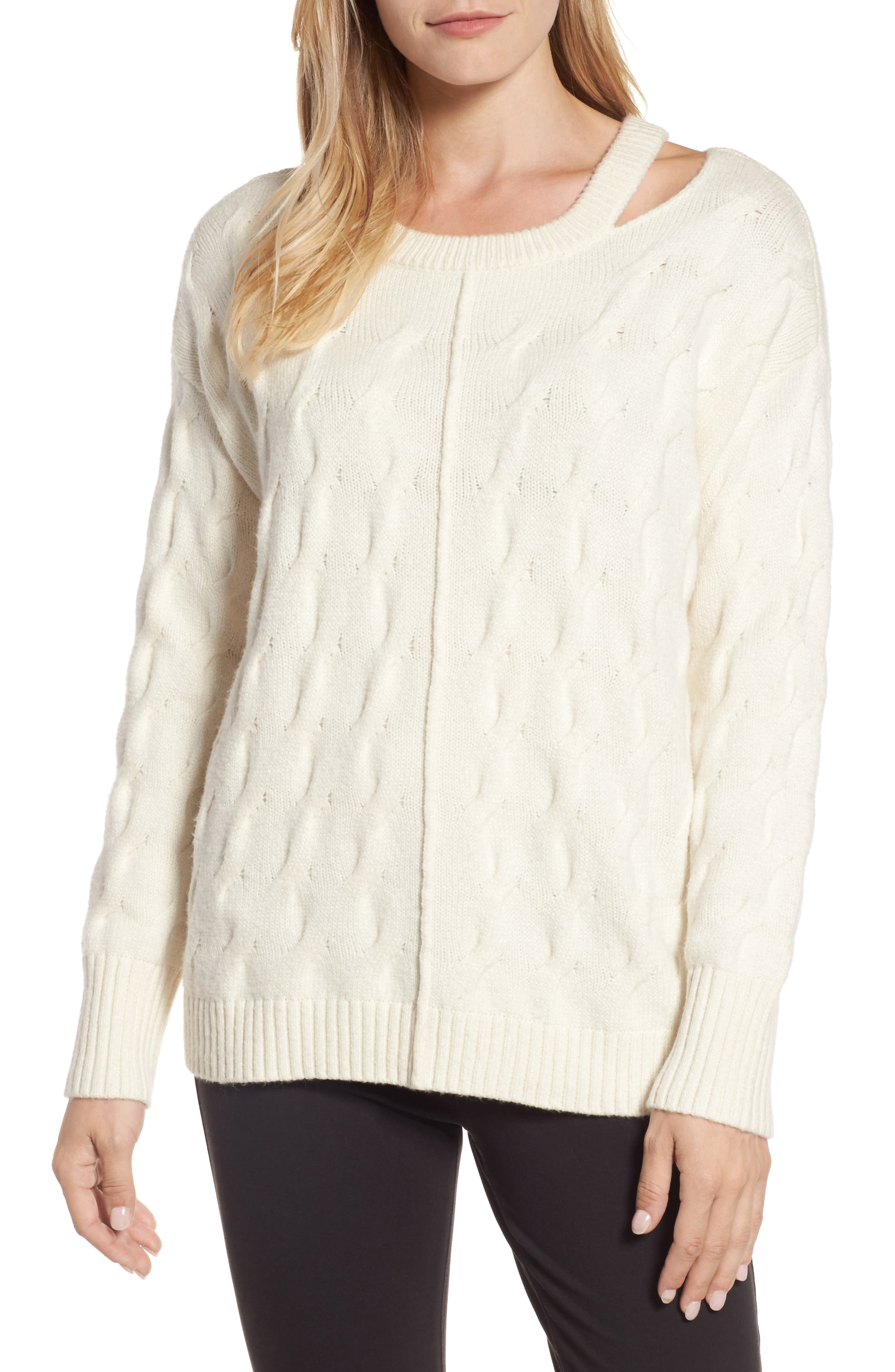 Vince Camuto Keyhole Neck Cable Sweater (Regular & Petite)