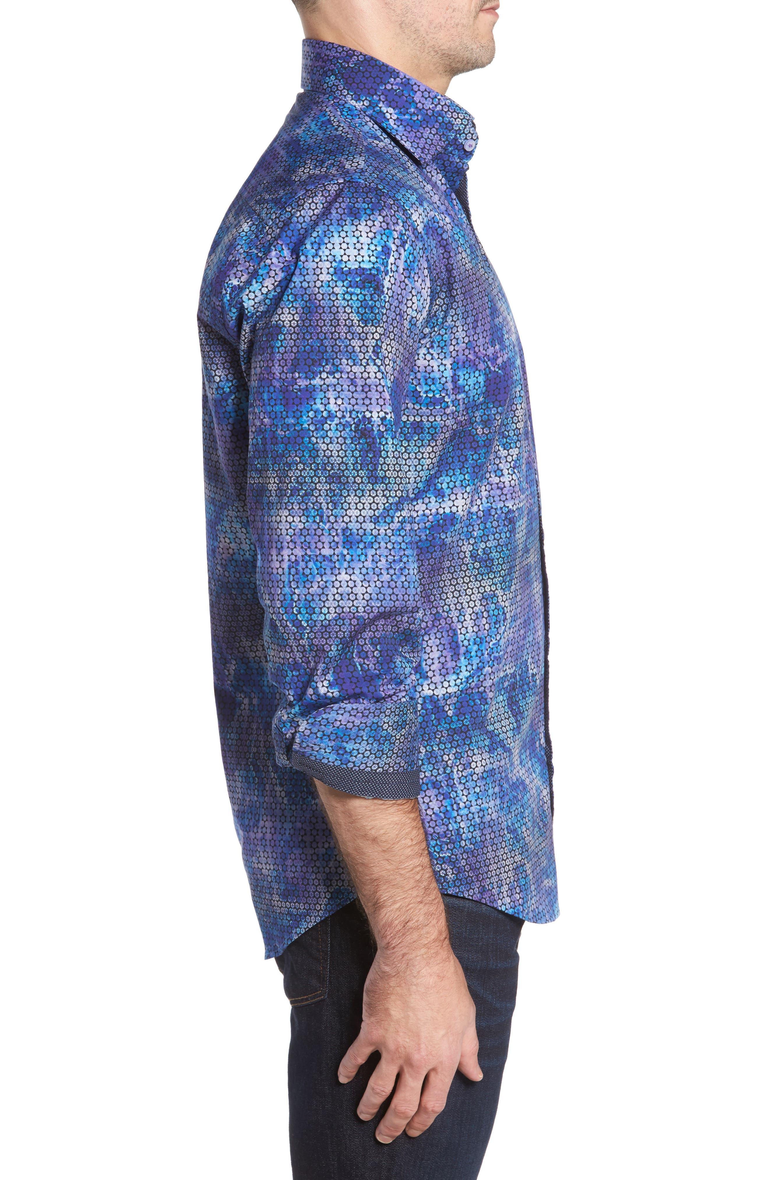 Slim Fit Geometric FX Print Sport Shirt,                             Alternate thumbnail 3, color,                             Purple