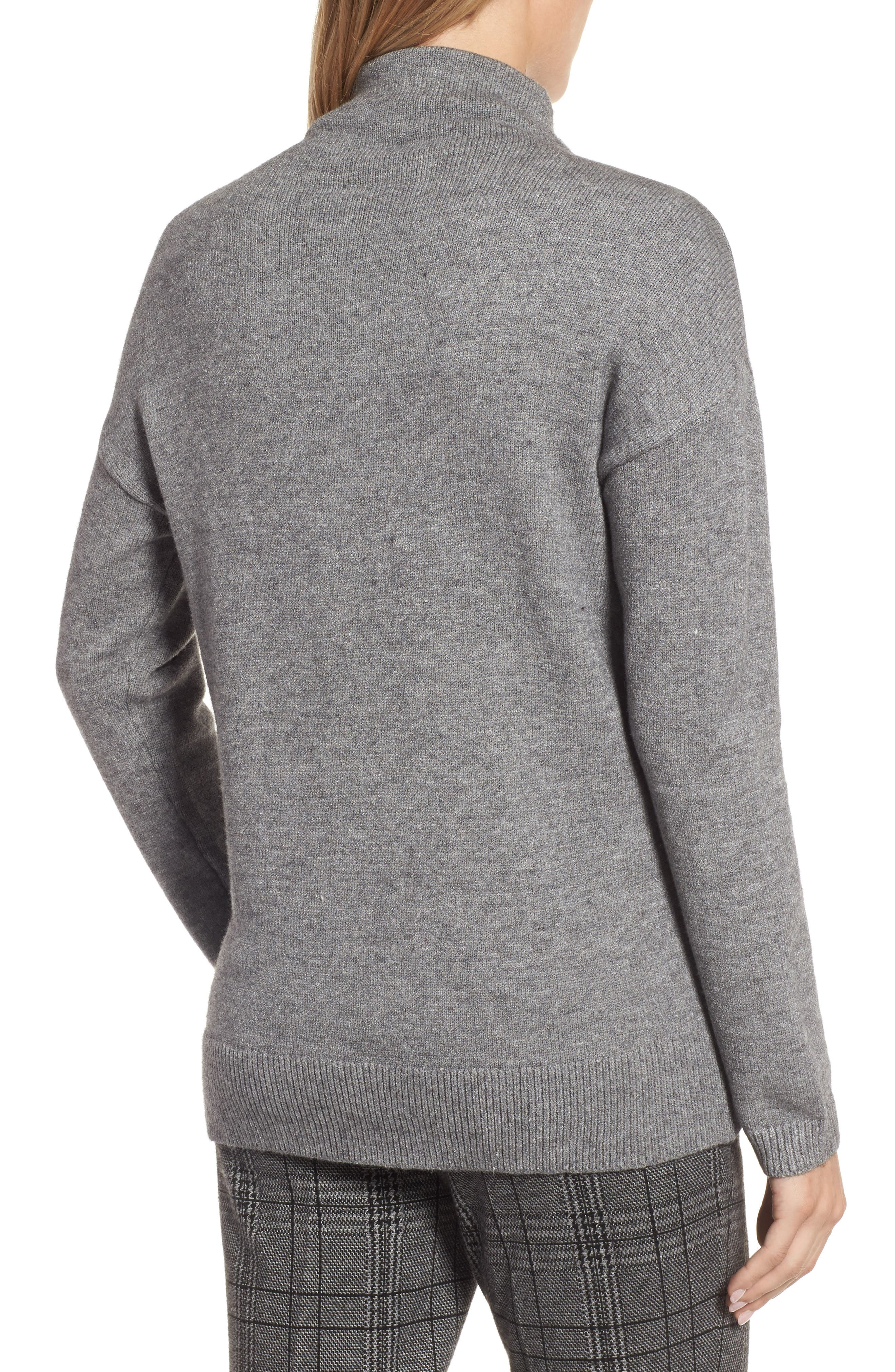 RD Style Funnel Neck Sweater,                             Alternate thumbnail 2, color,                             Grey