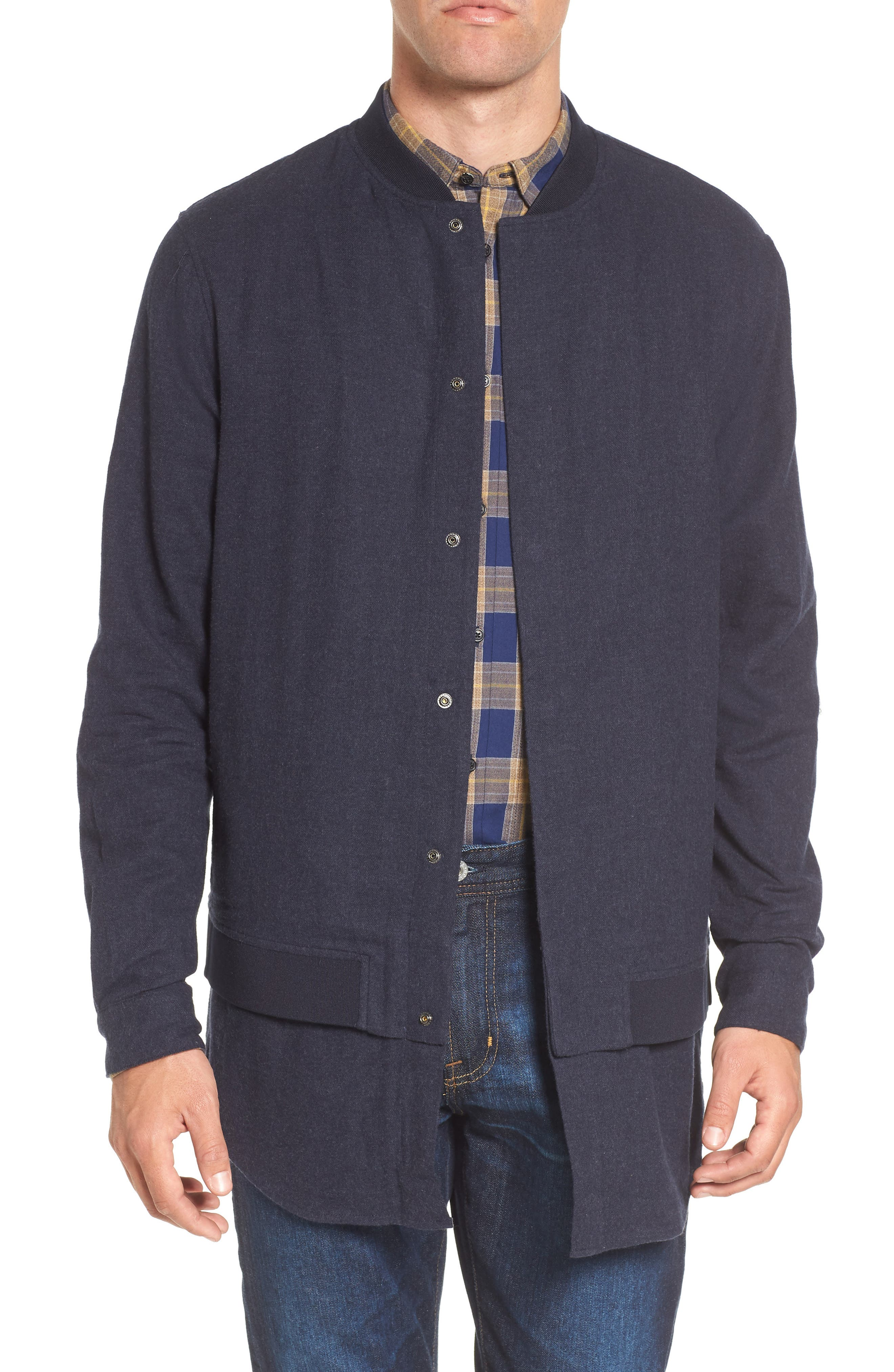 Scotch & Soda Longline Bomber Shirt Jacket