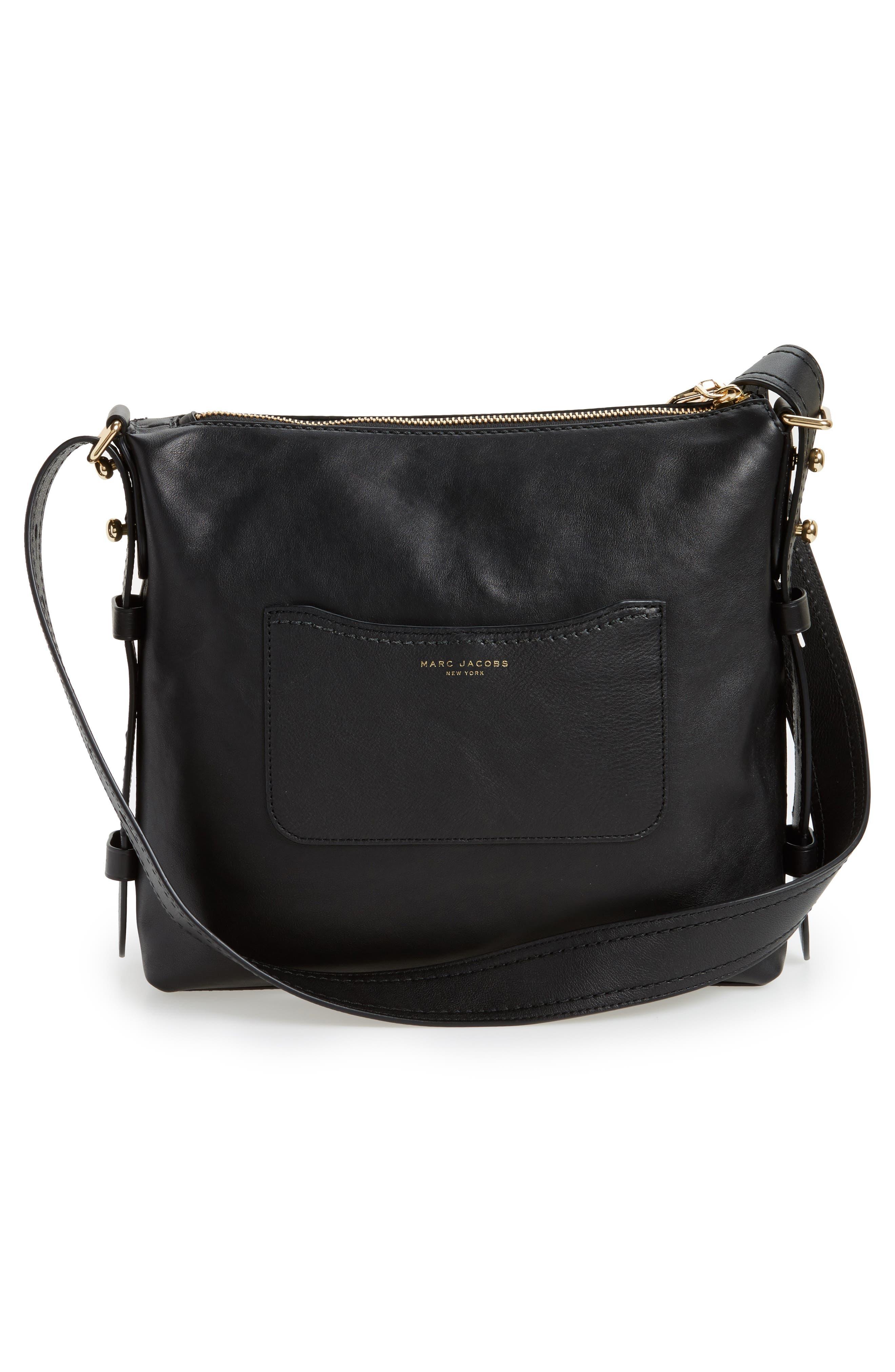 Downtown Stud Leather Shoulder Bag,                             Alternate thumbnail 2, color,                             Black