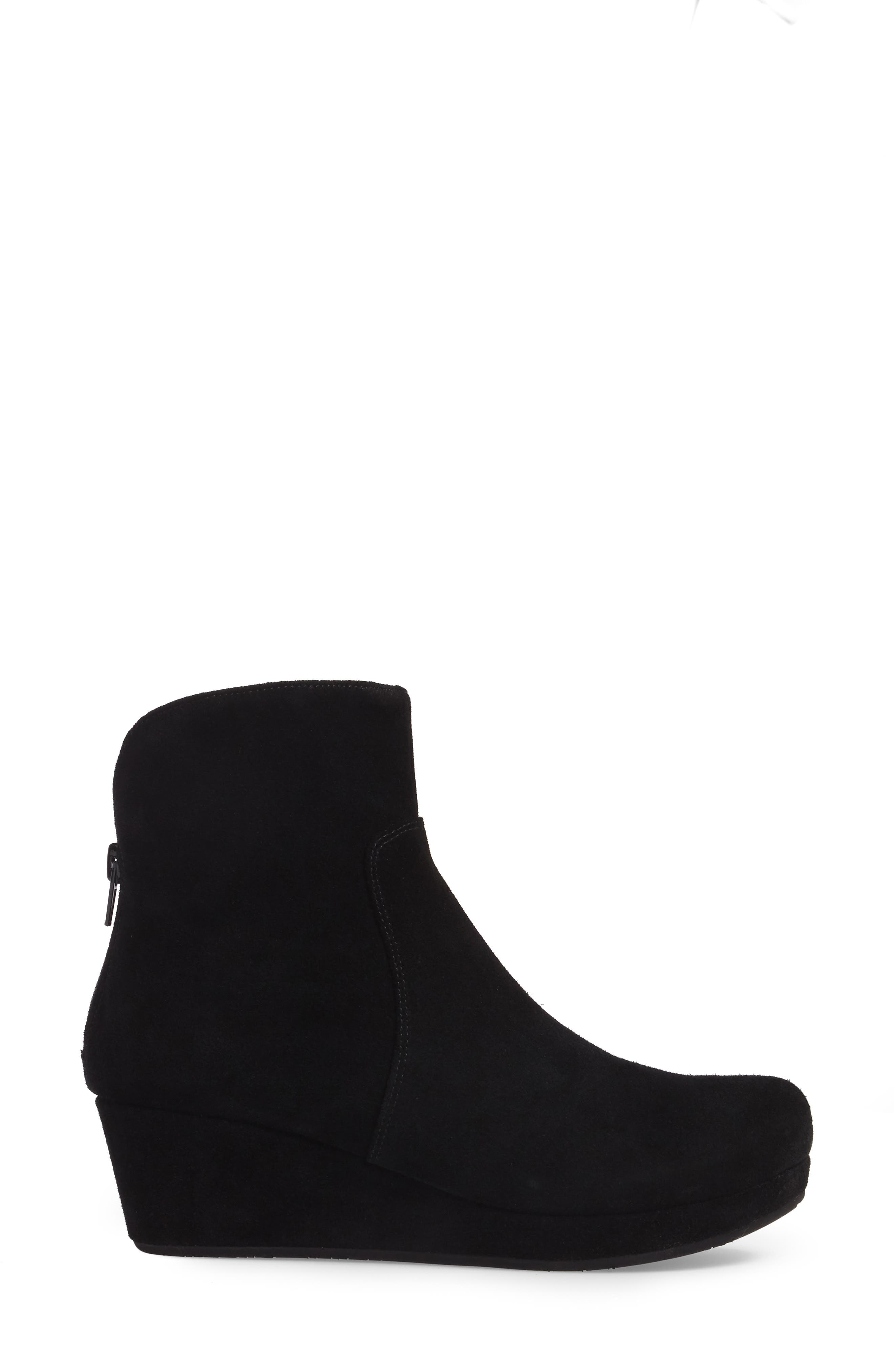 Yarden Wedge Bootie,                             Alternate thumbnail 3, color,                             Black Suede
