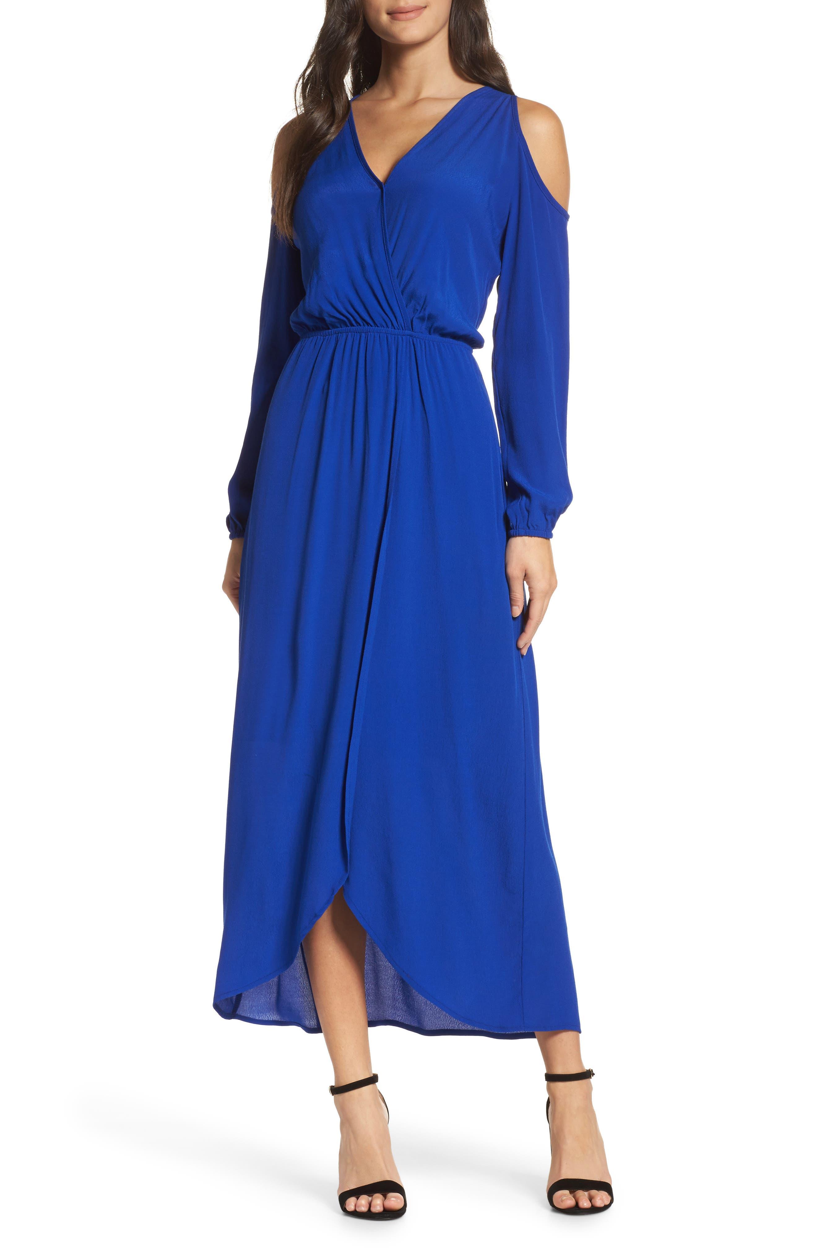 Cold Shoulder Maxi Dress,                         Main,                         color, Royal