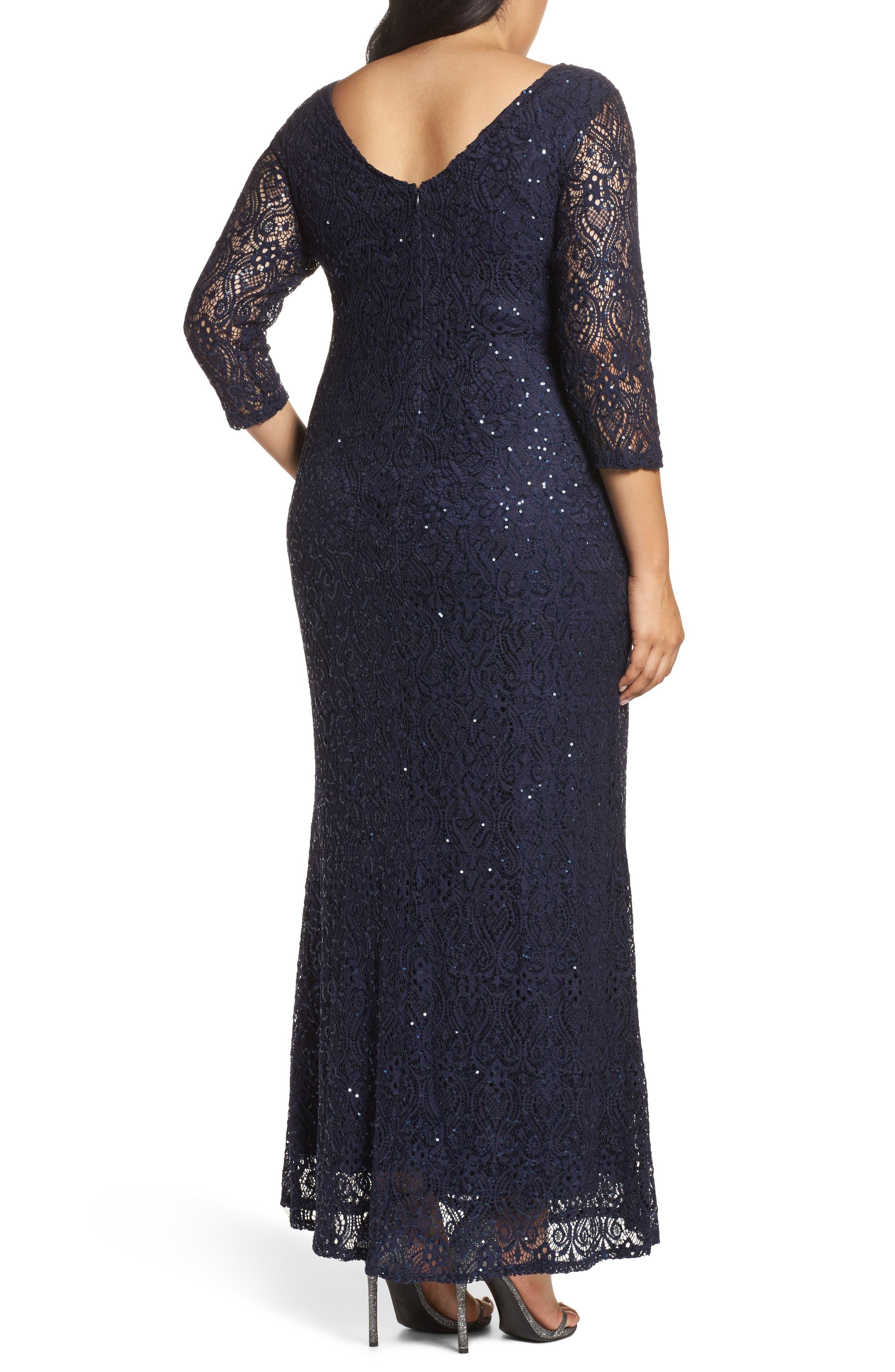 Alternate Image 2  - Marina Sequin Lace A-Line Gown (Plus Size)