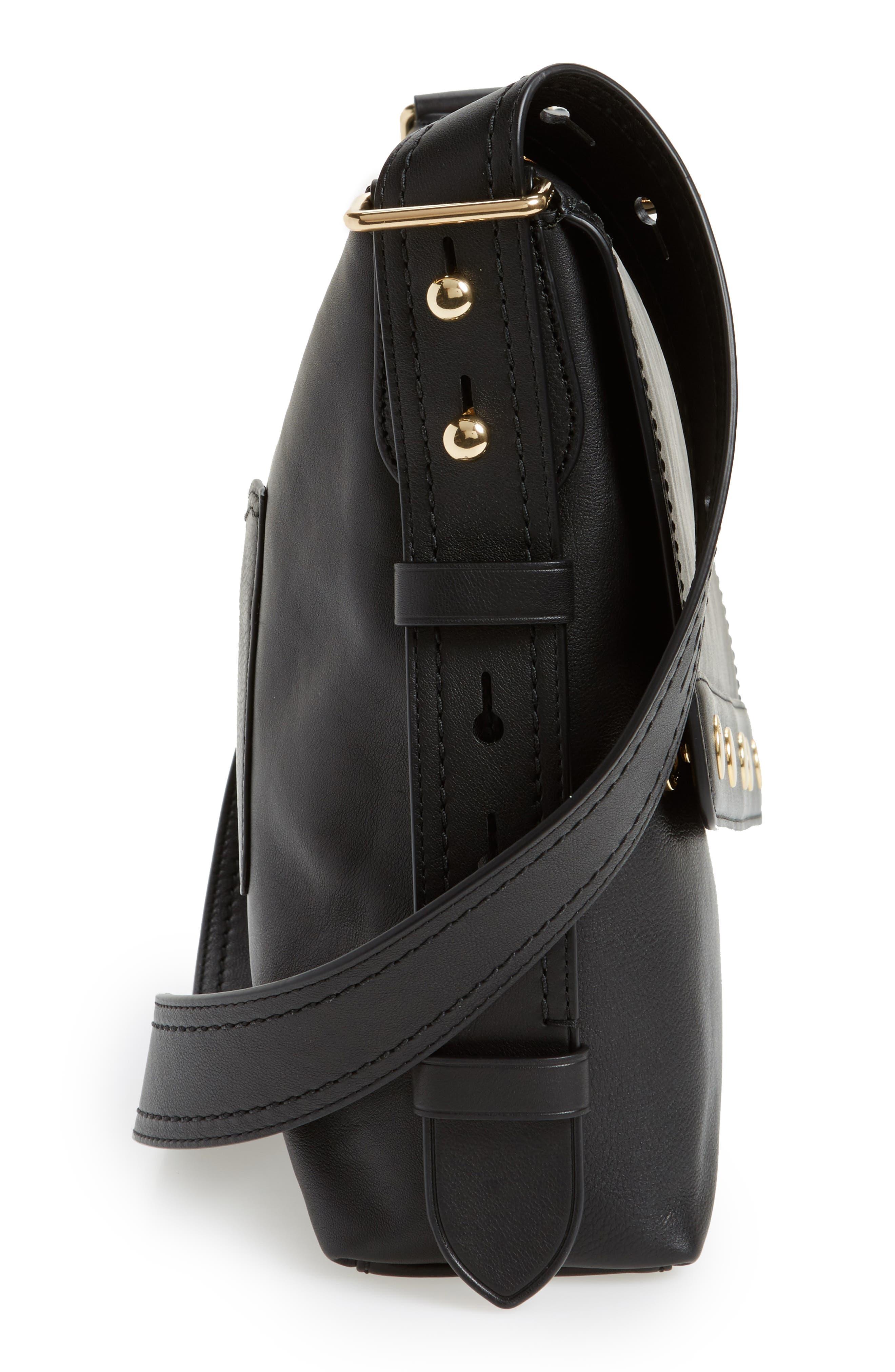 Downtown Stud Leather Shoulder Bag,                             Alternate thumbnail 4, color,                             Black