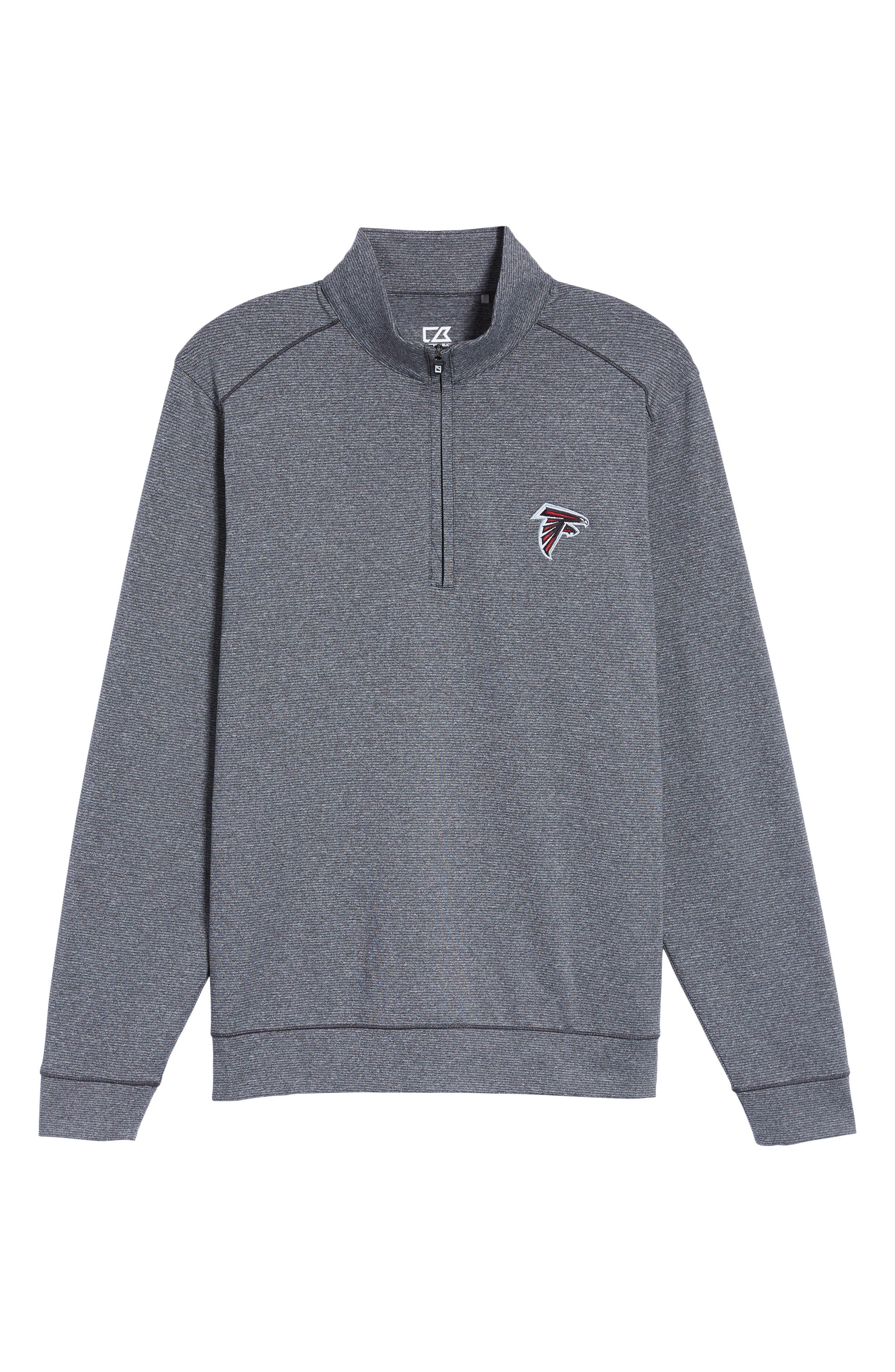 Shoreline - Atlanta Falcons Half Zip Pullover,                             Alternate thumbnail 6, color,                             Charcoal Heather