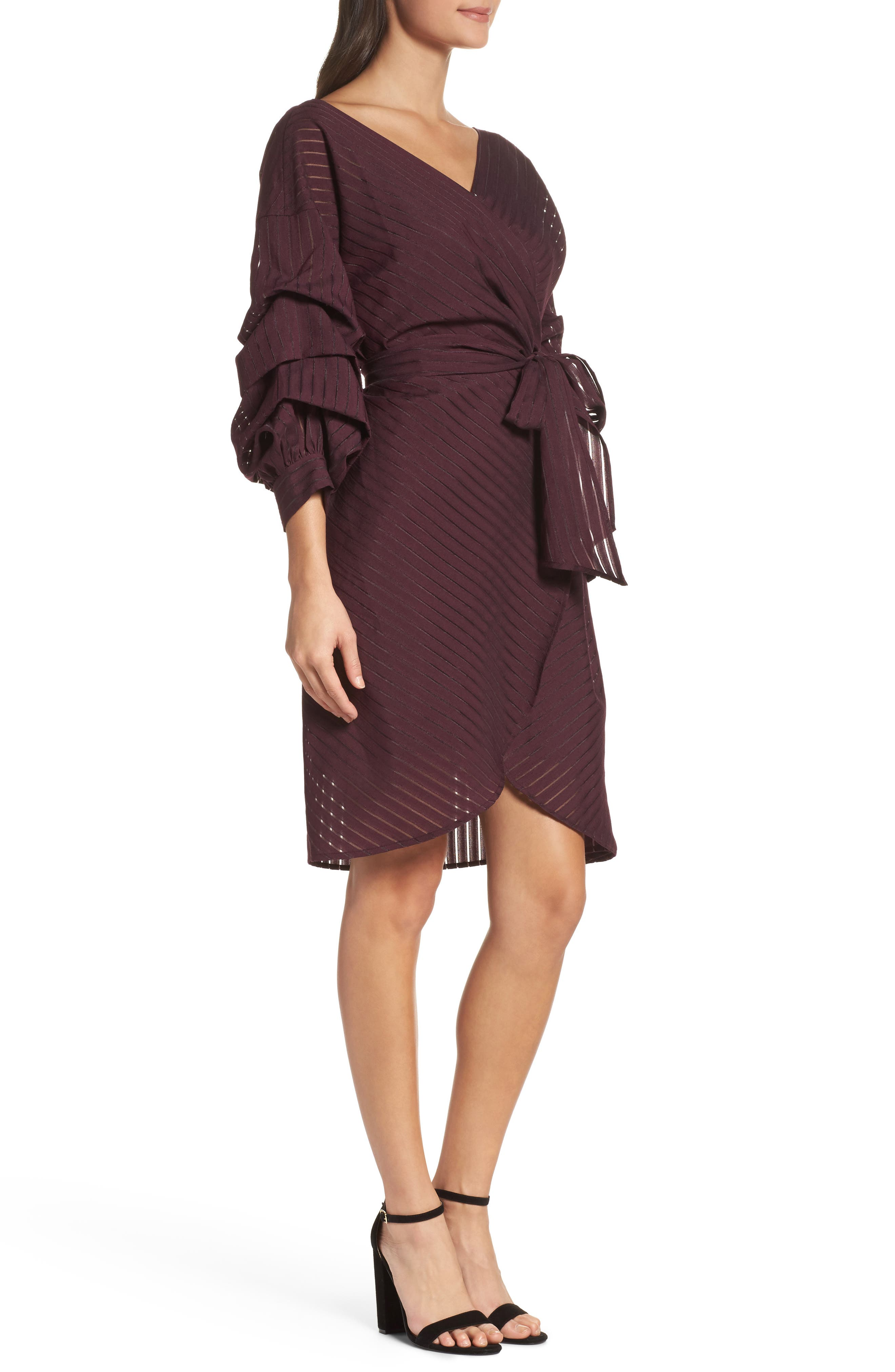 Shadow Stripe Wrap Dress,                             Alternate thumbnail 3, color,                             Burgundy Stem