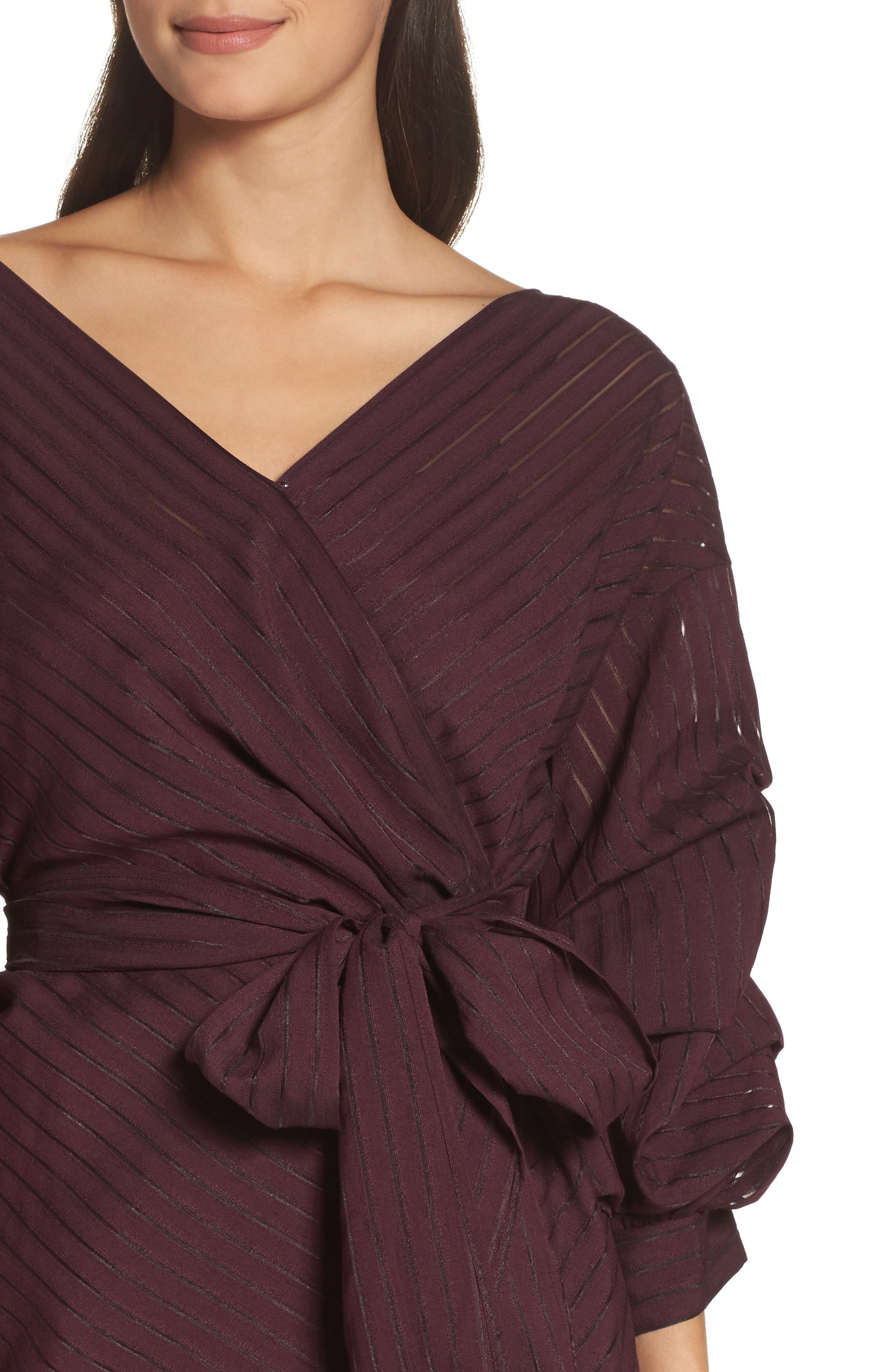 Shadow Stripe Wrap Dress,                             Alternate thumbnail 4, color,                             Burgundy Stem