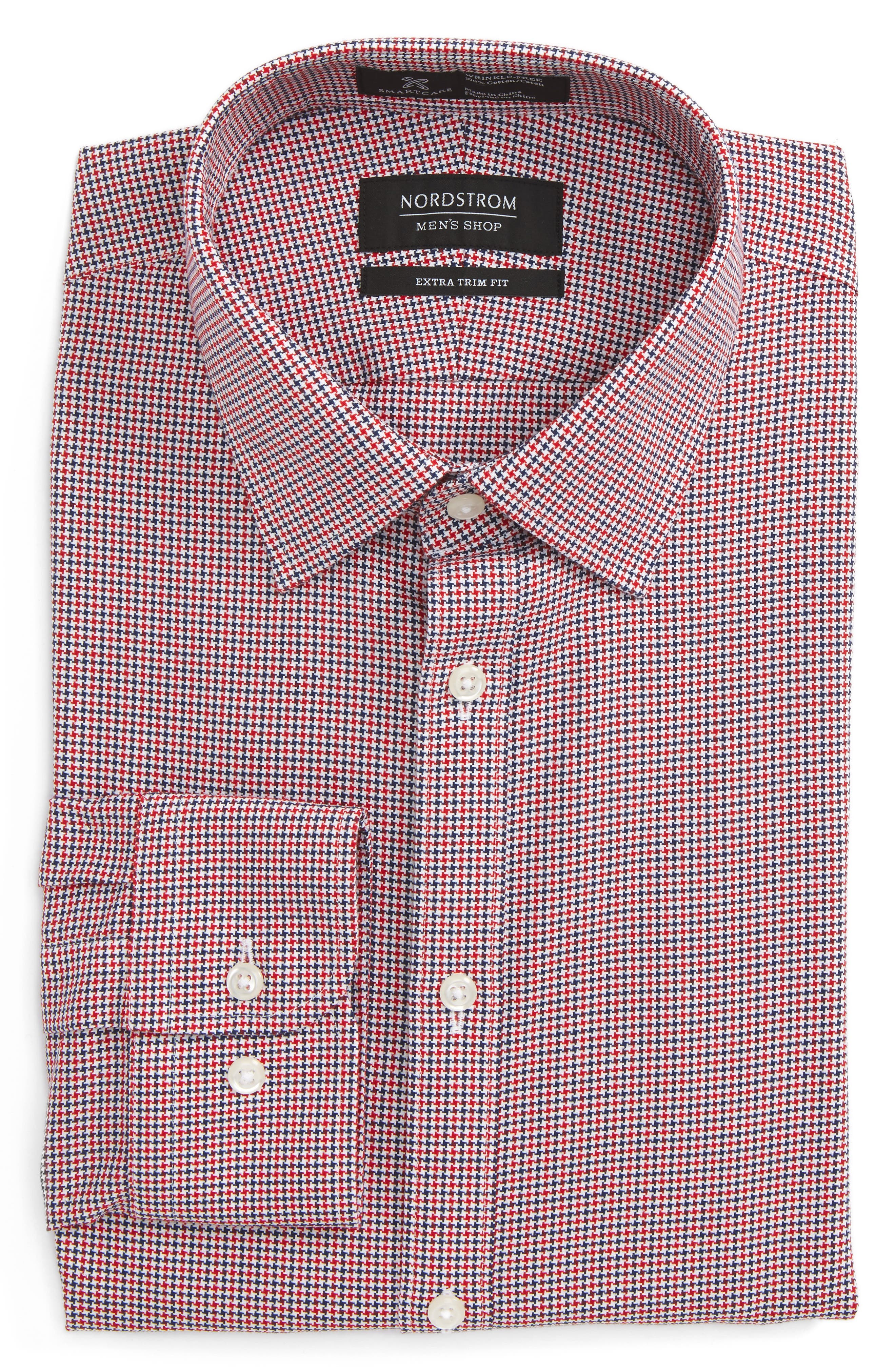 Smartcare<sup>™</sup> Extra Trim Fit Houndstooth Dress Shirt,                             Alternate thumbnail 6, color,                             Red Chili