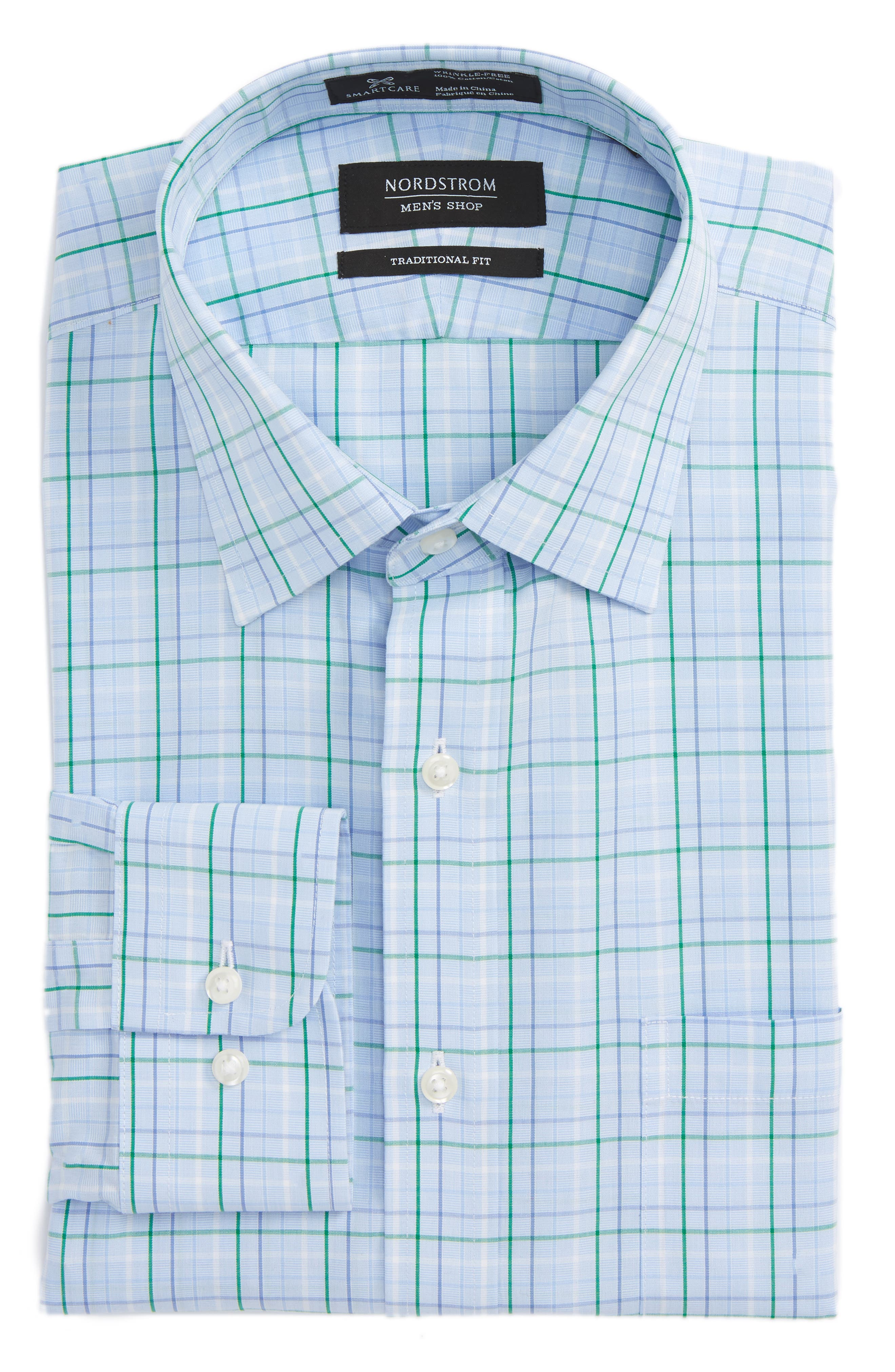Smartcare<sup>™</sup> Traditional Fit Plaid Dress Shirt,                         Main,                         color, Green Jolly