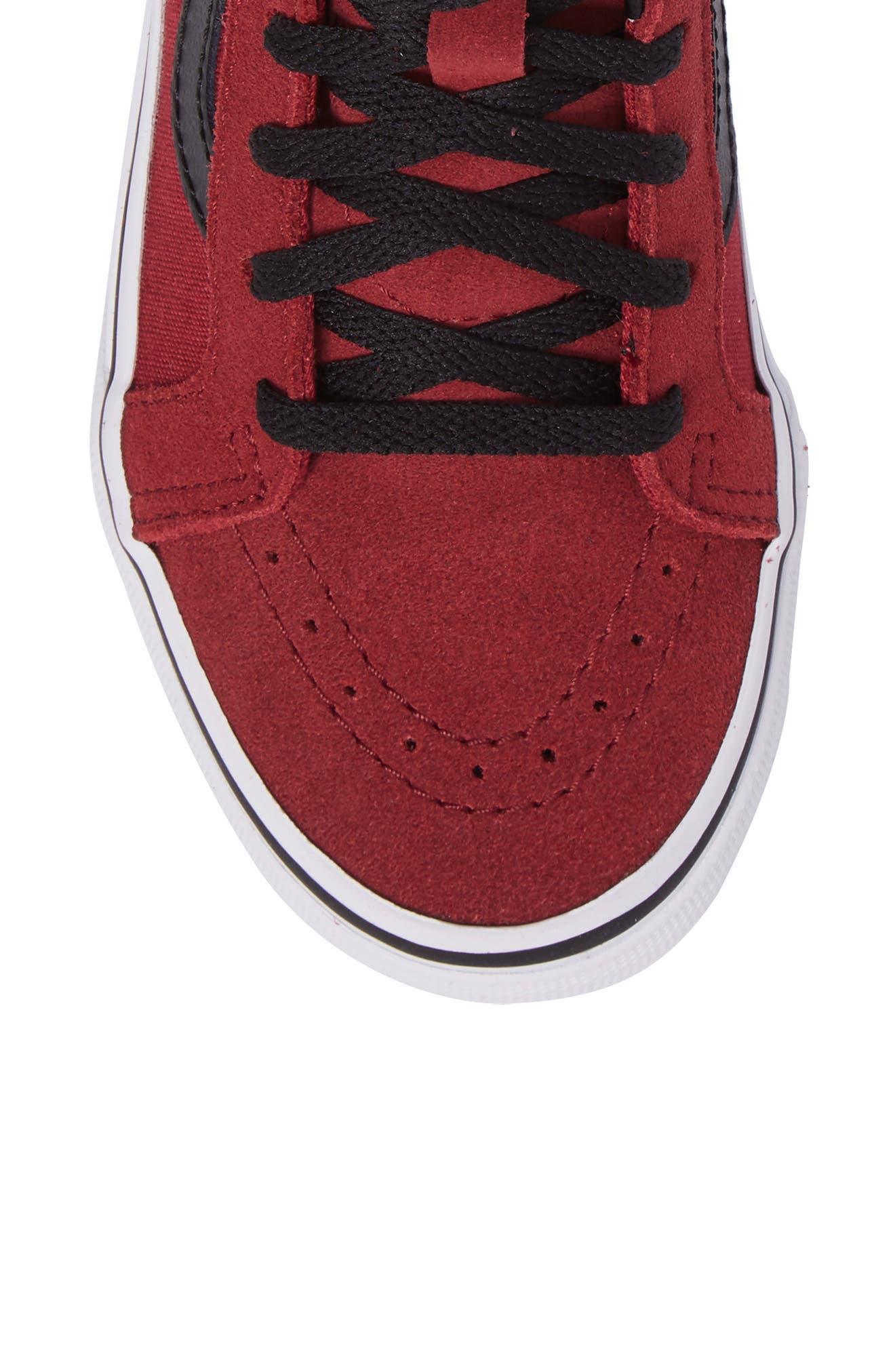 SK8-Hi Zip Sneaker,                             Alternate thumbnail 5, color,                             Tibetan Red/ Black