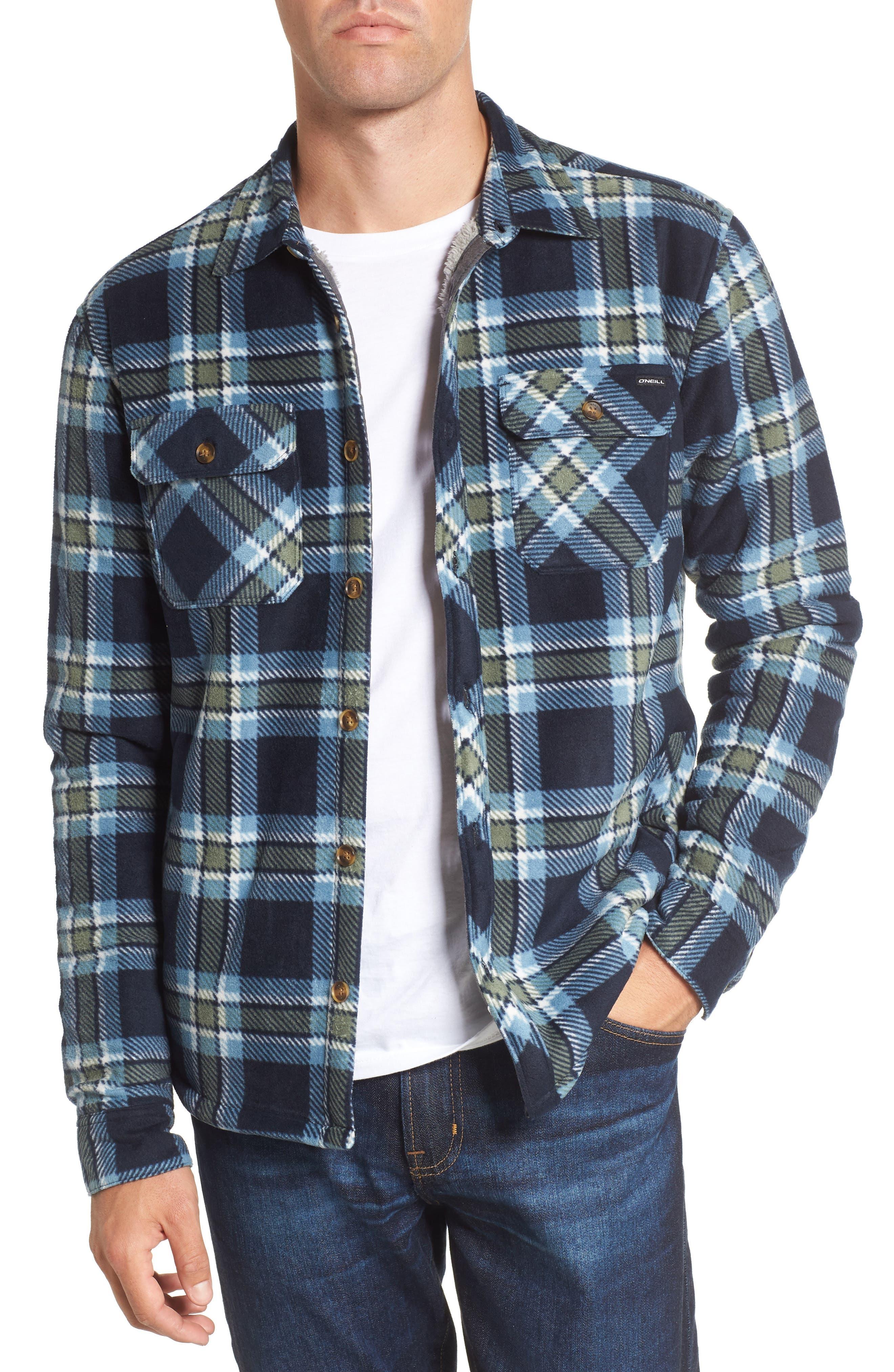 Glacier Heat Dome Plaid Fleece Shirt,                         Main,                         color, Navy