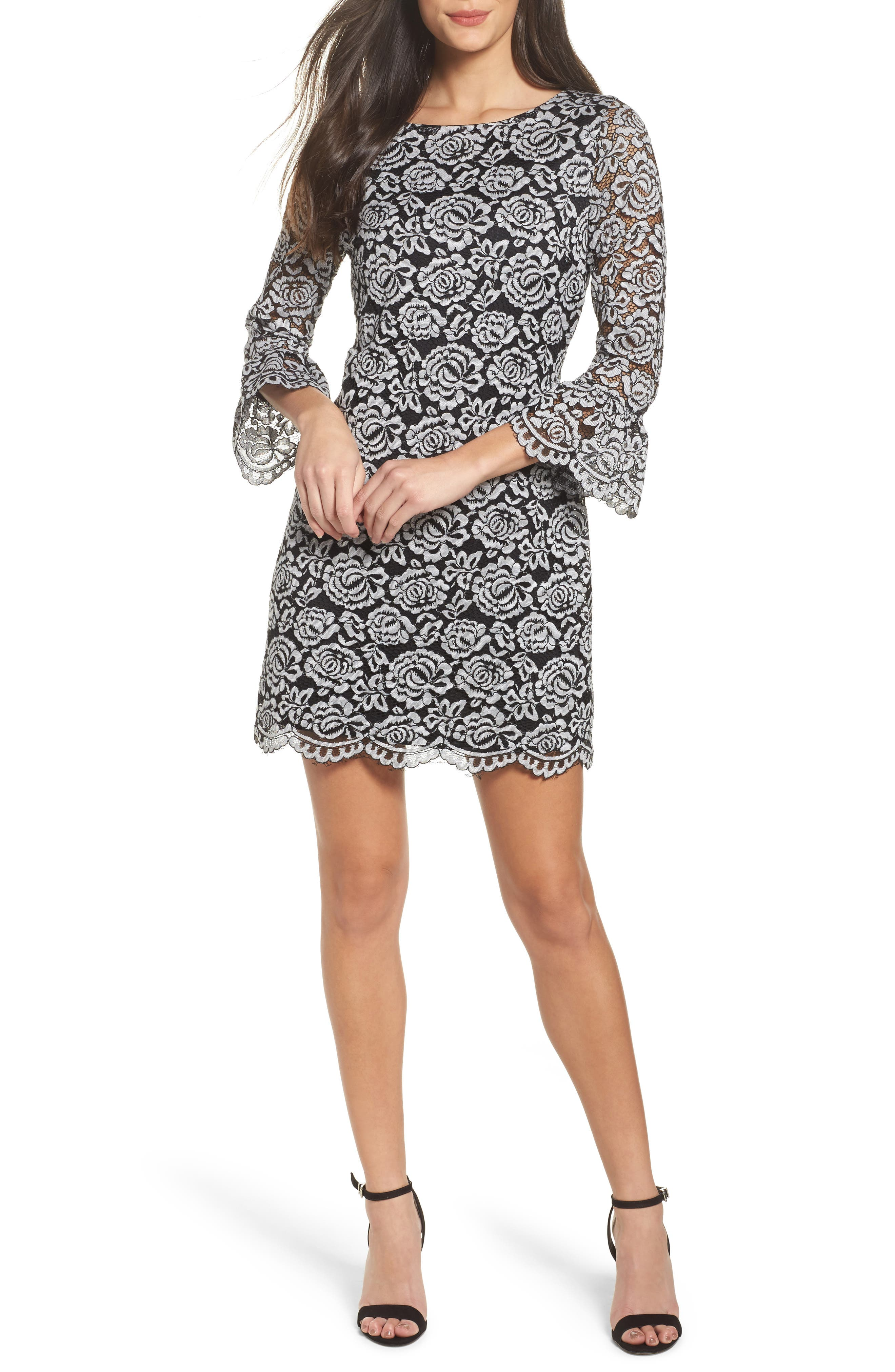 Lace Bell Sleeve Dress,                         Main,                         color, Black/ White