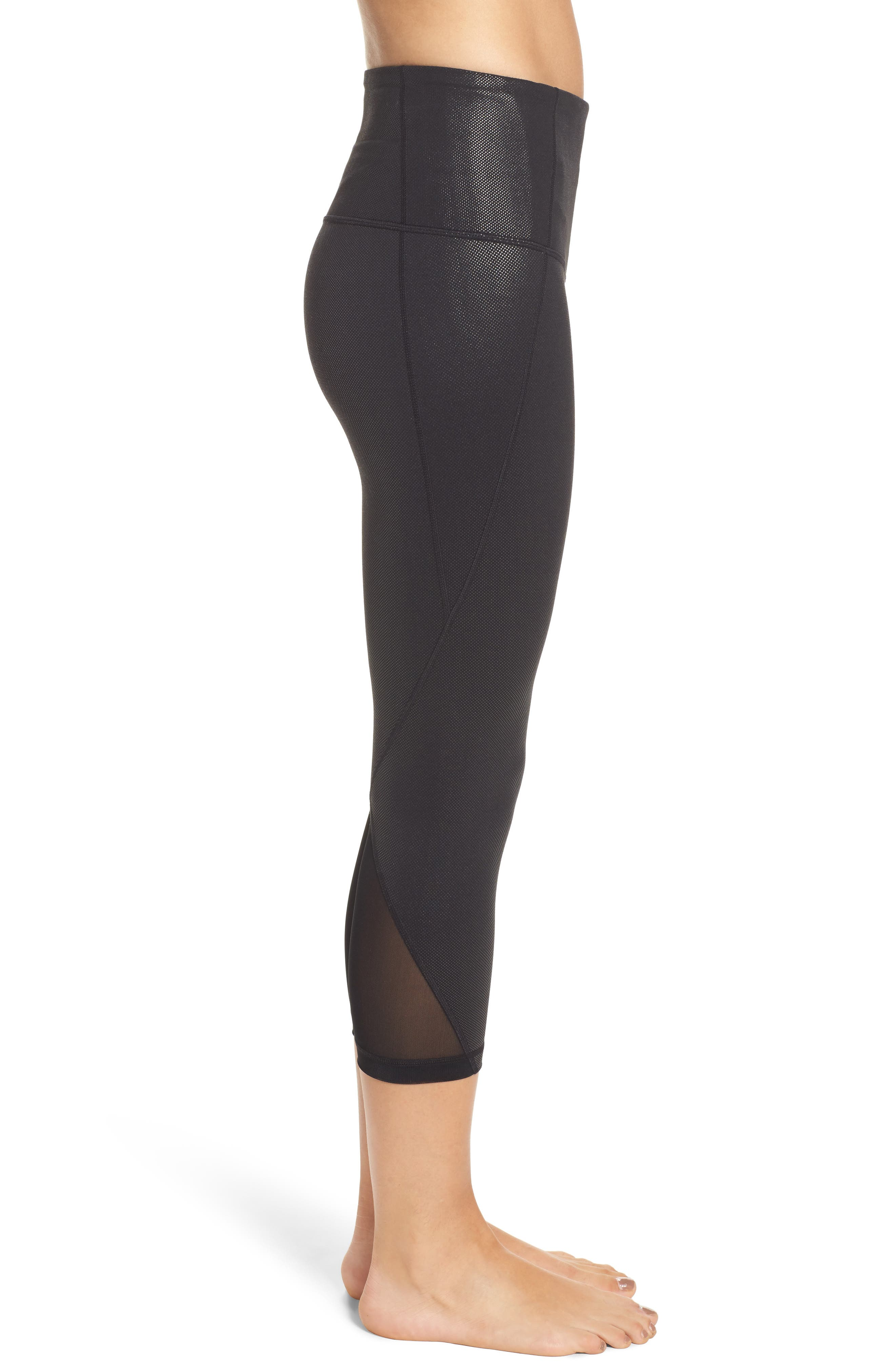 Hatha Crop Leggings,                             Alternate thumbnail 3, color,                             Black Pearl Dot