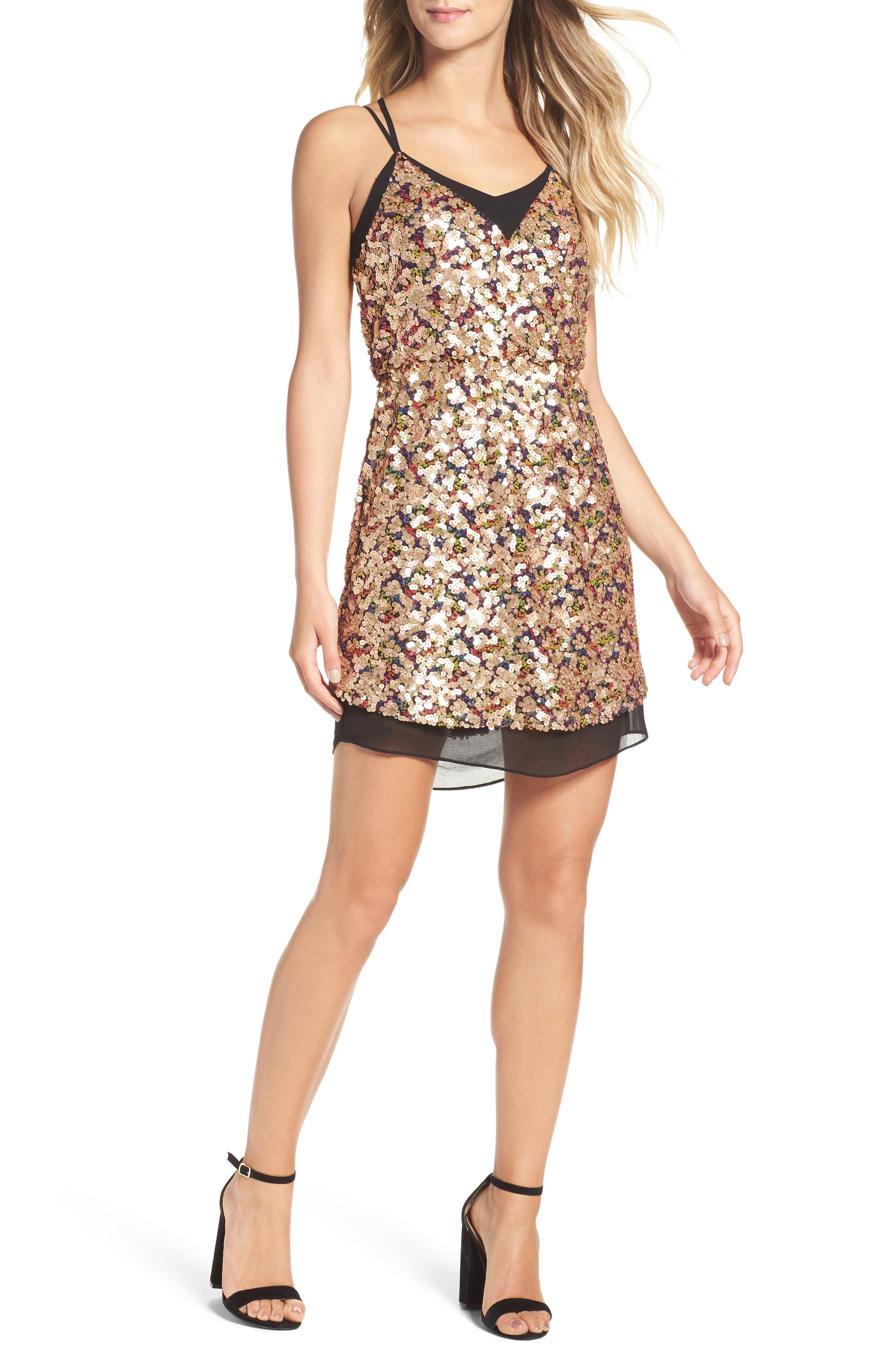 Becca Sequin Minidress,                             Main thumbnail 1, color,                             Gold