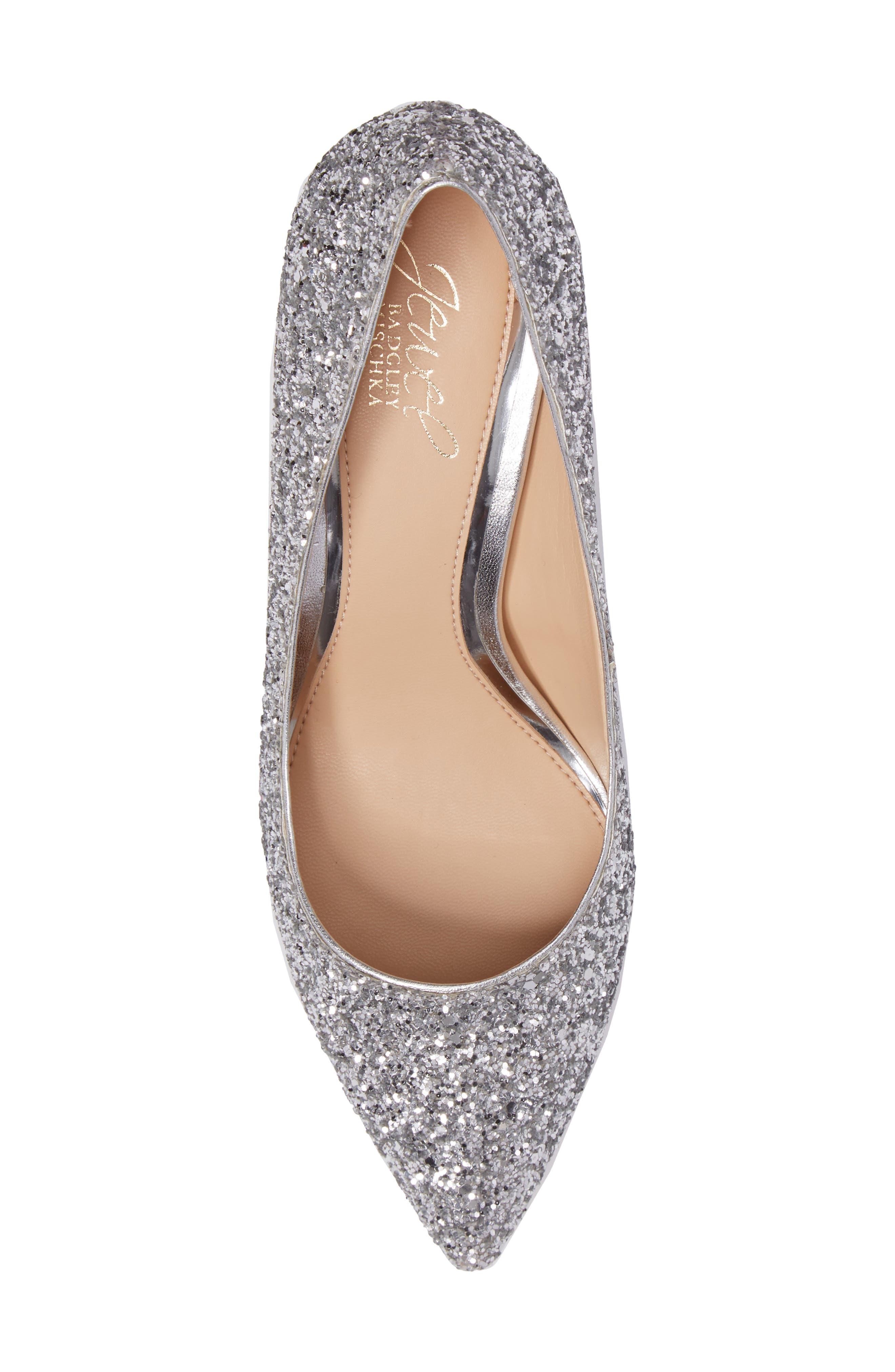 Lyla Glitter Pointy Toe Pump,                             Alternate thumbnail 6, color,                             Silver