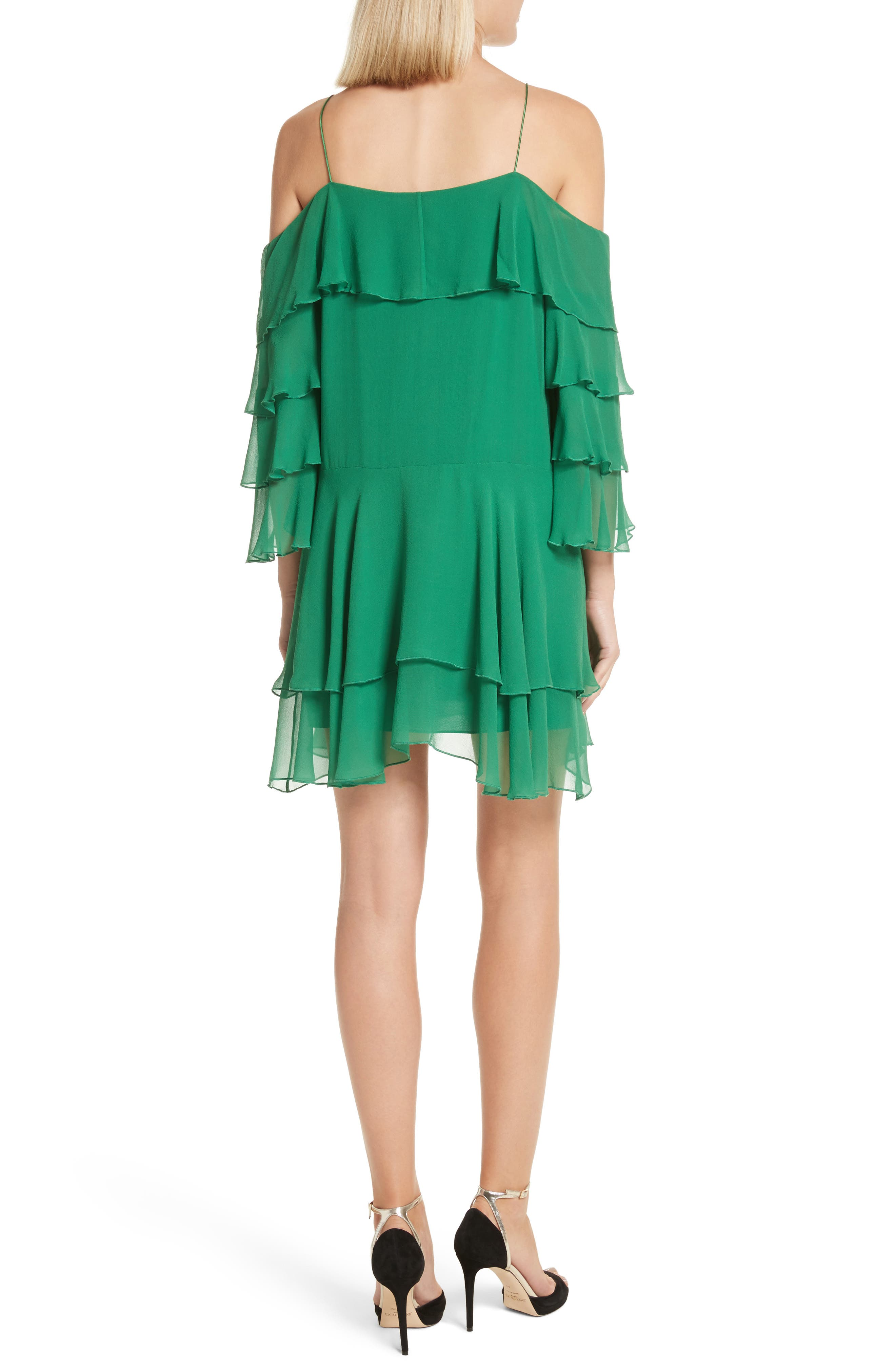Alternate Image 2  - Alice + Olivia Lexis Lyrd Silk Cold Shoulder Ruffle Dress