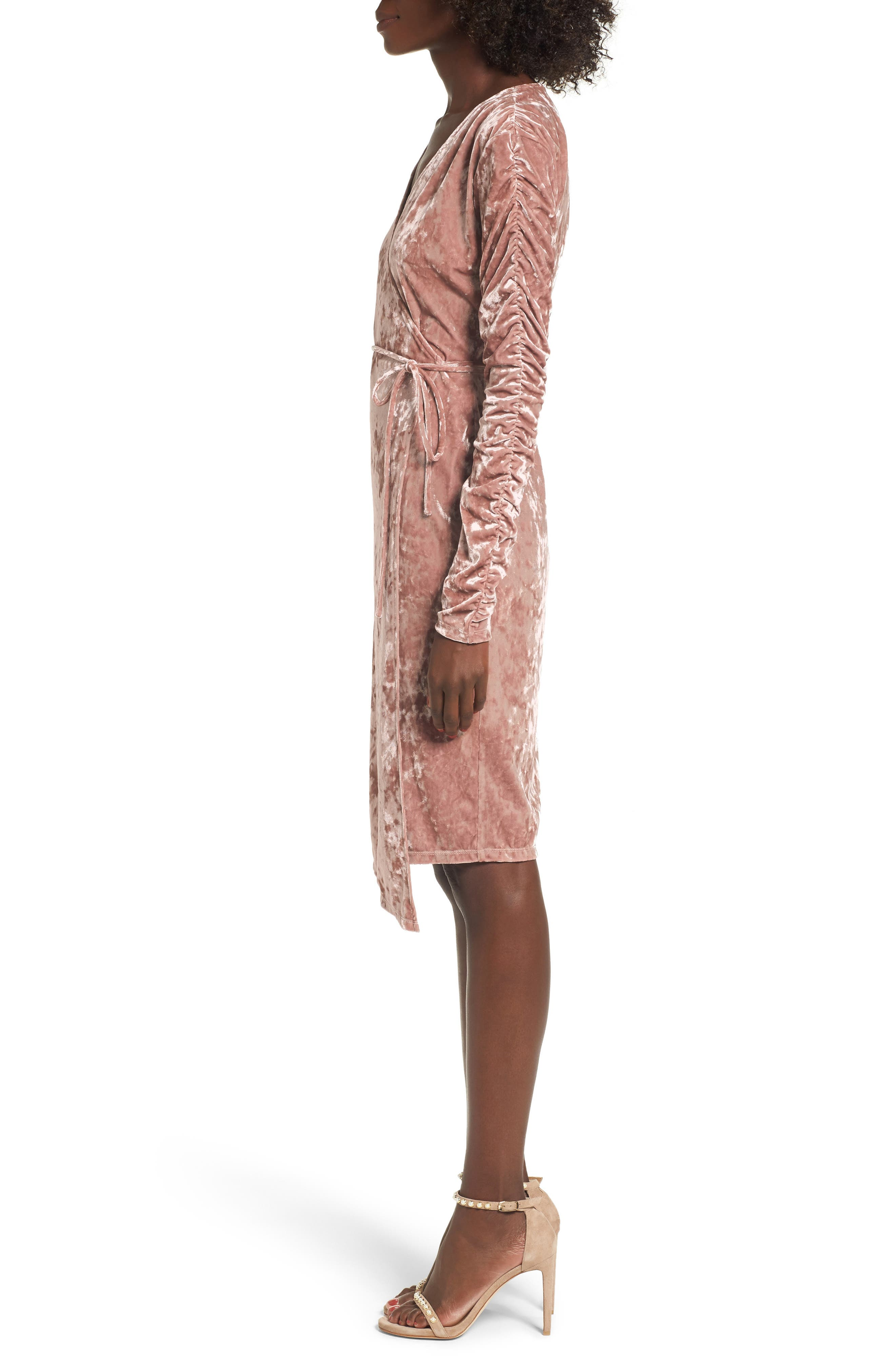 Alternate Image 4  - Leith Ruched Velour Wrap Dress