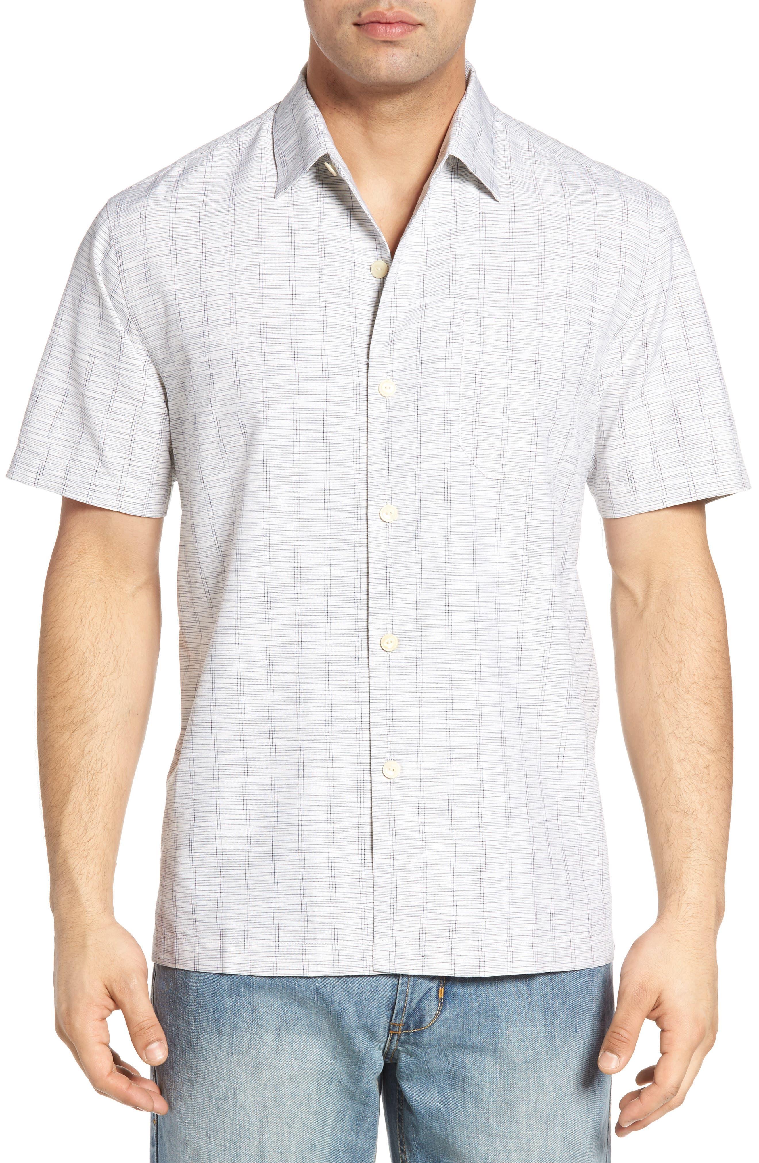 Main Image - Tommy Bahama Seismic Stripe Silk Sport Shirt