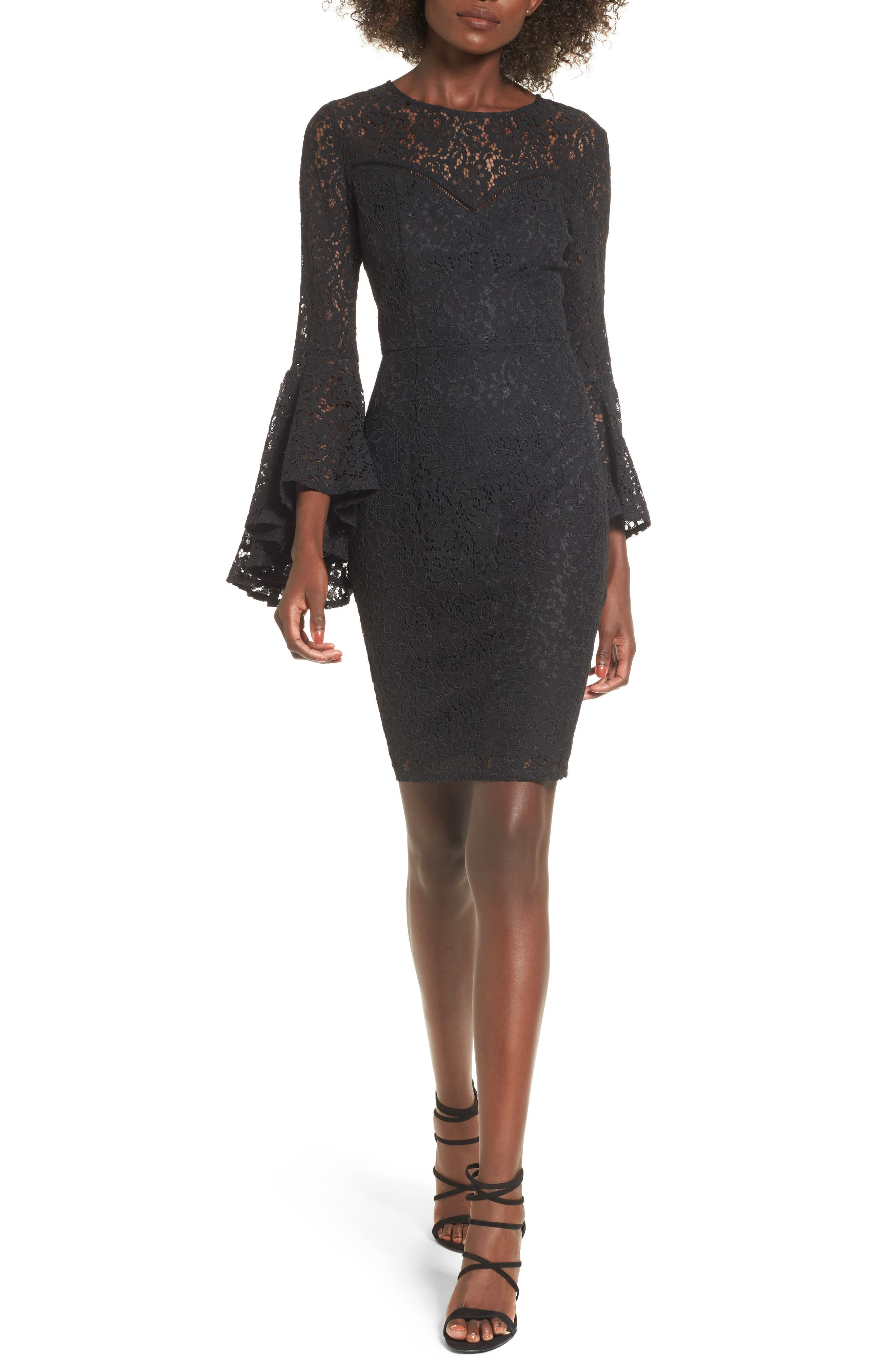 Lace Bell Sleeve Dress,                         Main,                         color, Black