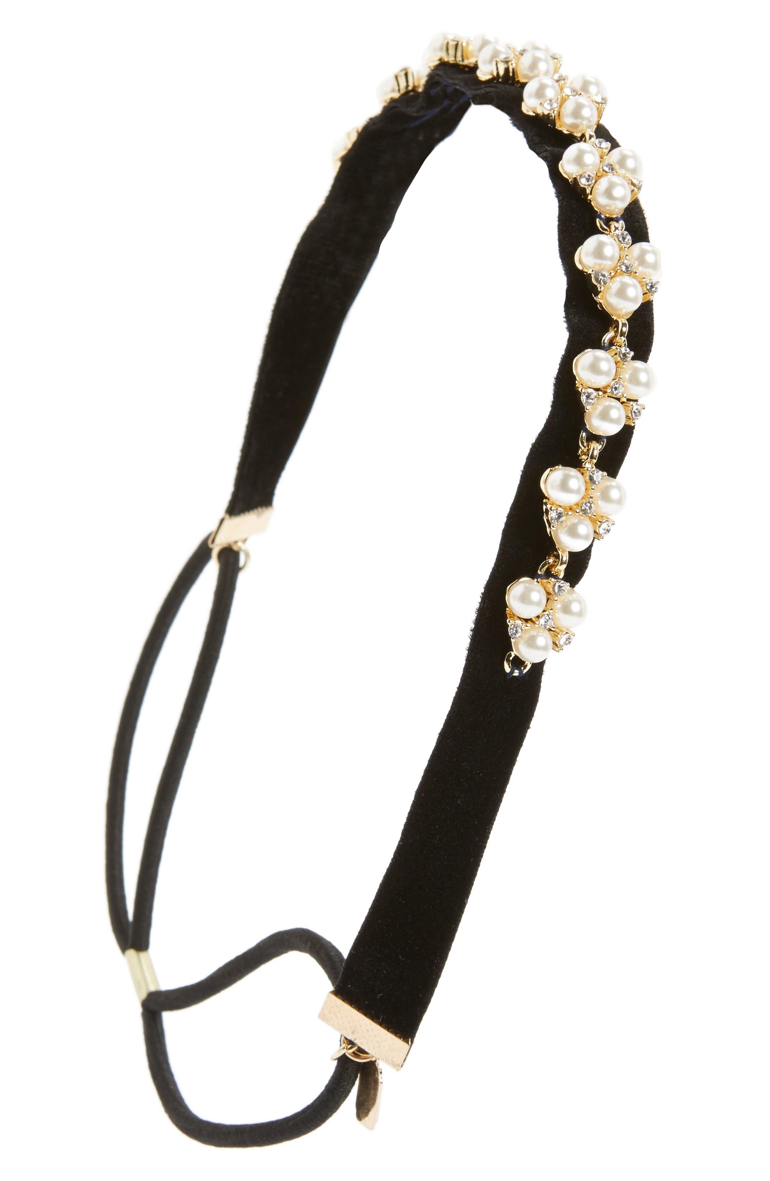 Crystal & Imitation Pearl Embellished Headwrap,                             Main thumbnail 1, color,                             Black