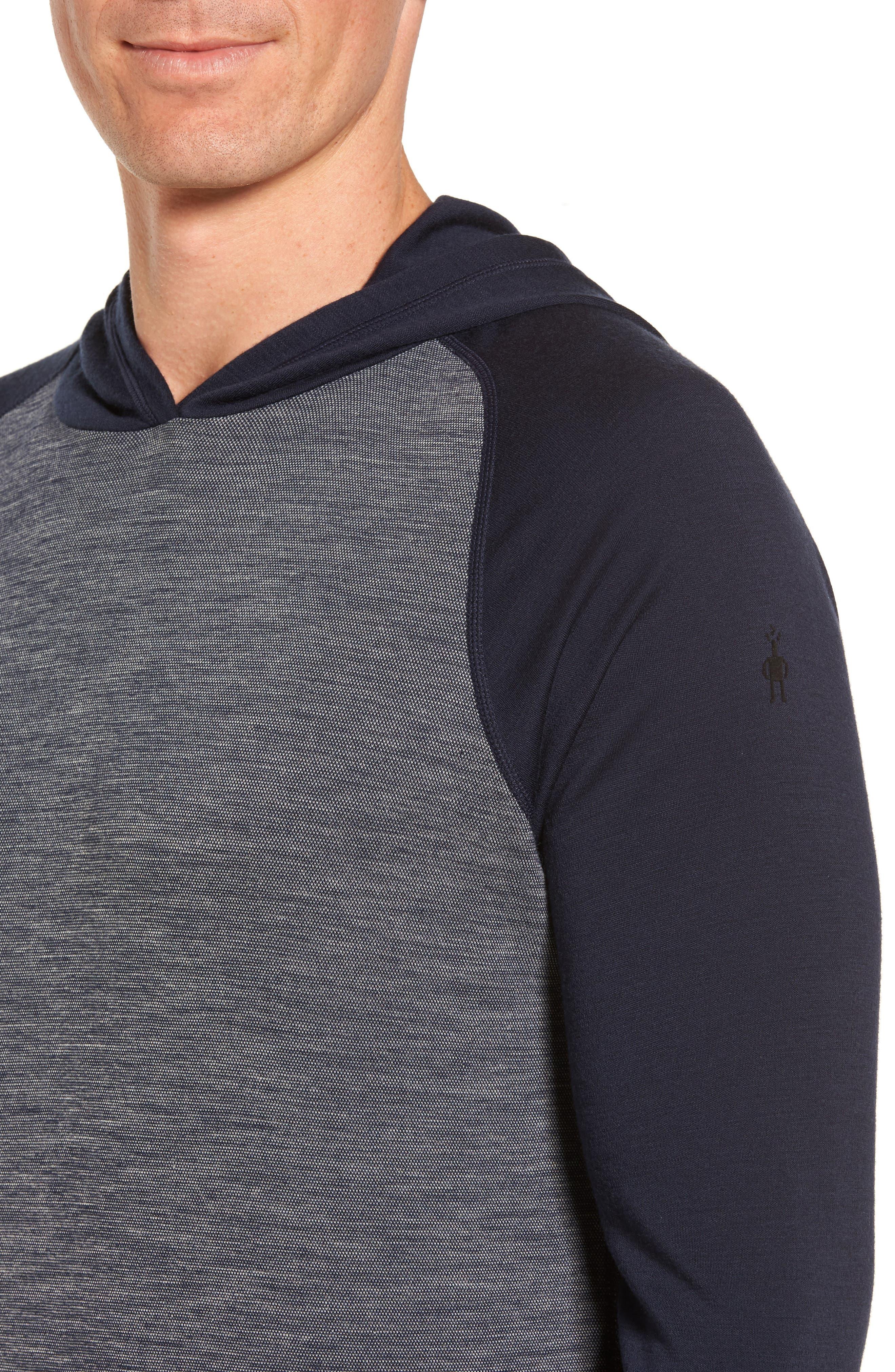 Merino 250 Base Layer Pattern Crewneck T-Shirt,                             Alternate thumbnail 4, color,                             Deep Navy