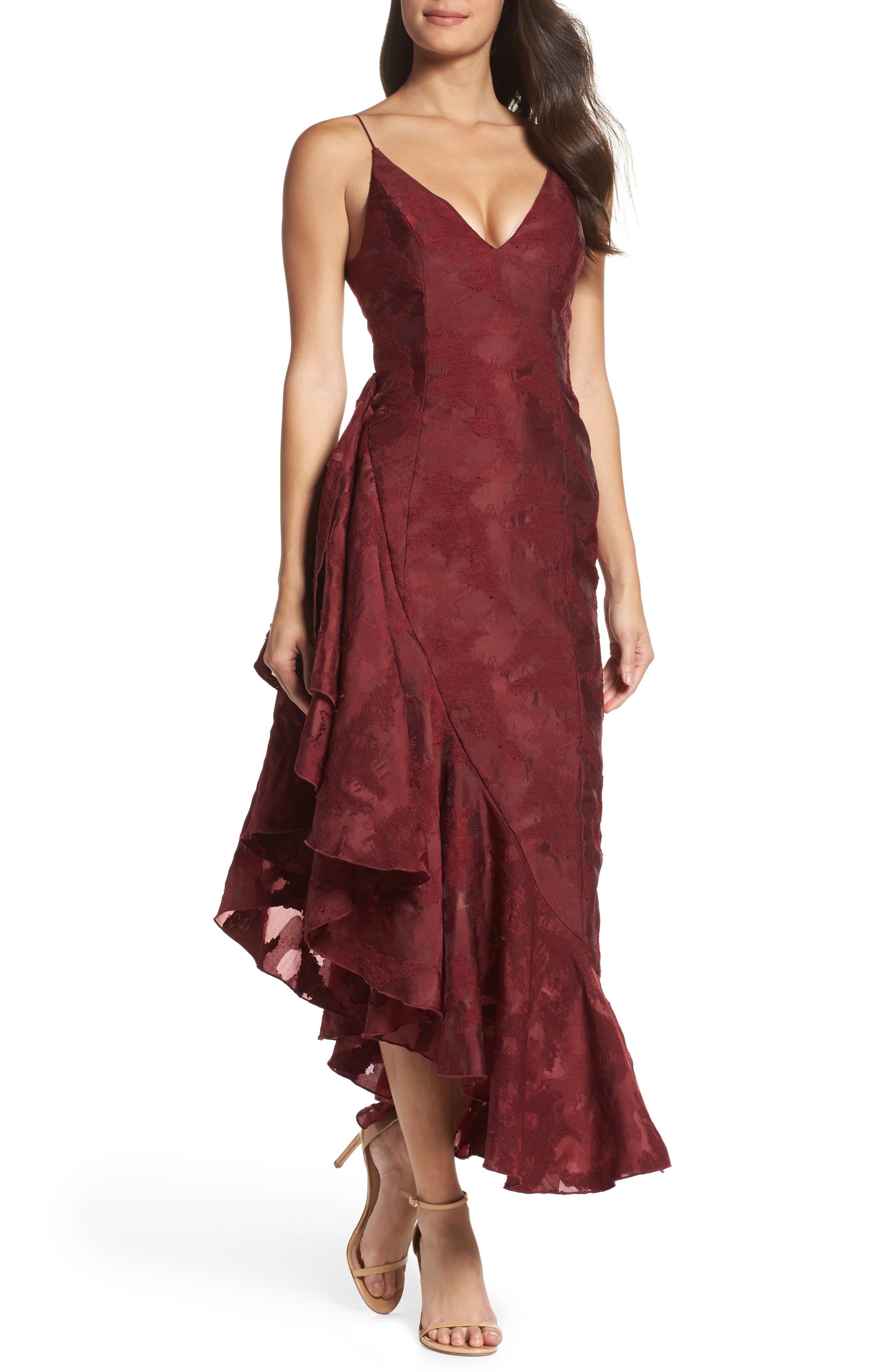 Ember Burnout Asymmetrical Ruffle Dress,                             Main thumbnail 1, color,                             Ruby