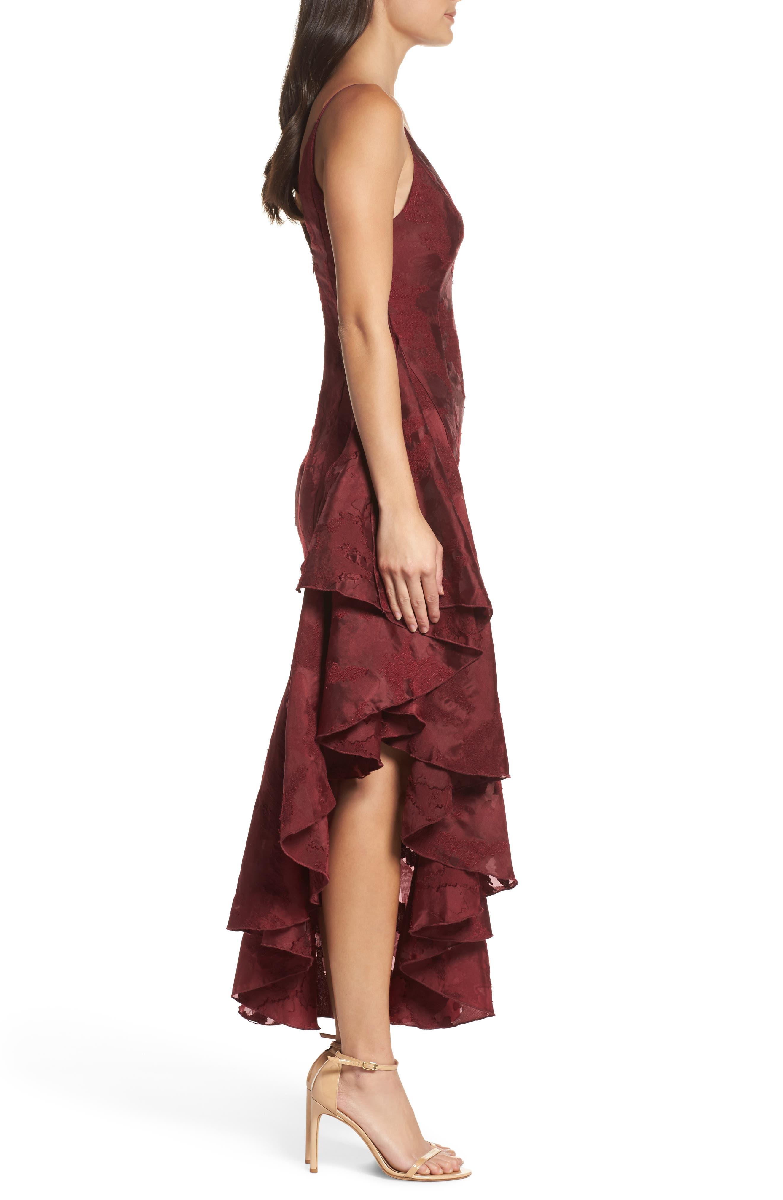 Ember Burnout Asymmetrical Ruffle Dress,                             Alternate thumbnail 4, color,                             Ruby