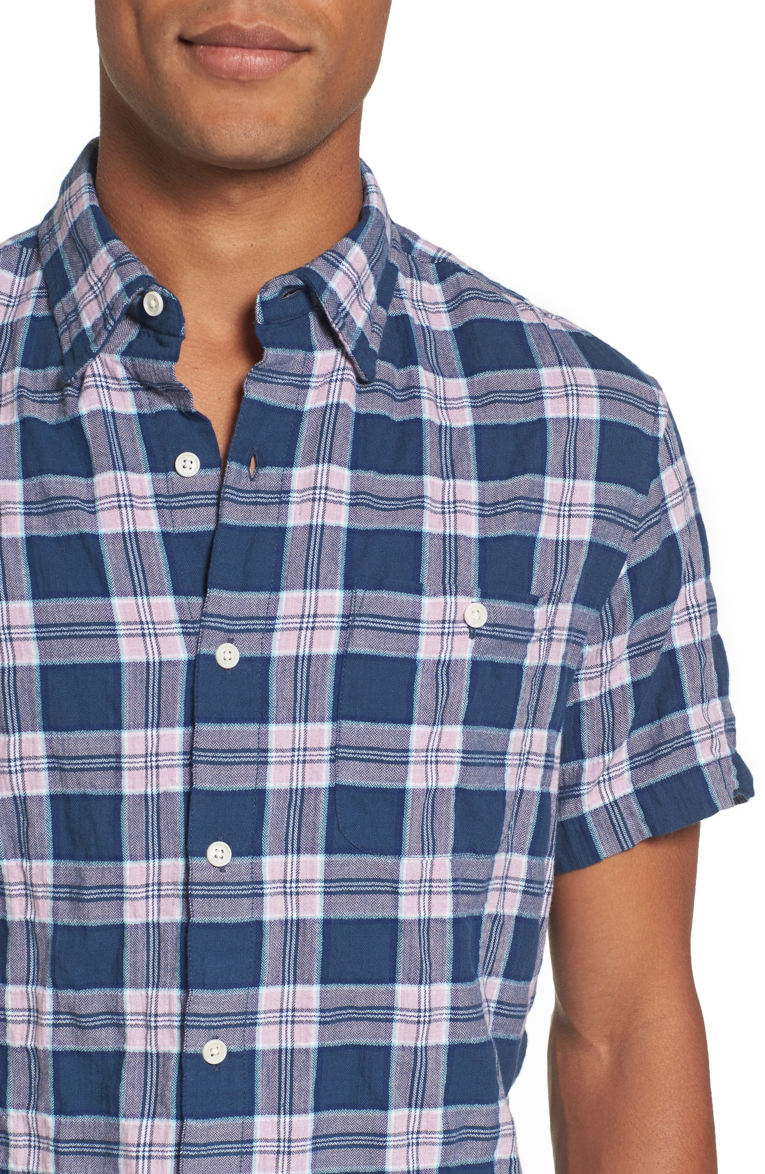 Riviera Slim Fit Plaid Woven Shirt,                             Alternate thumbnail 4, color,                             Crinkle Blue Pine Plaid